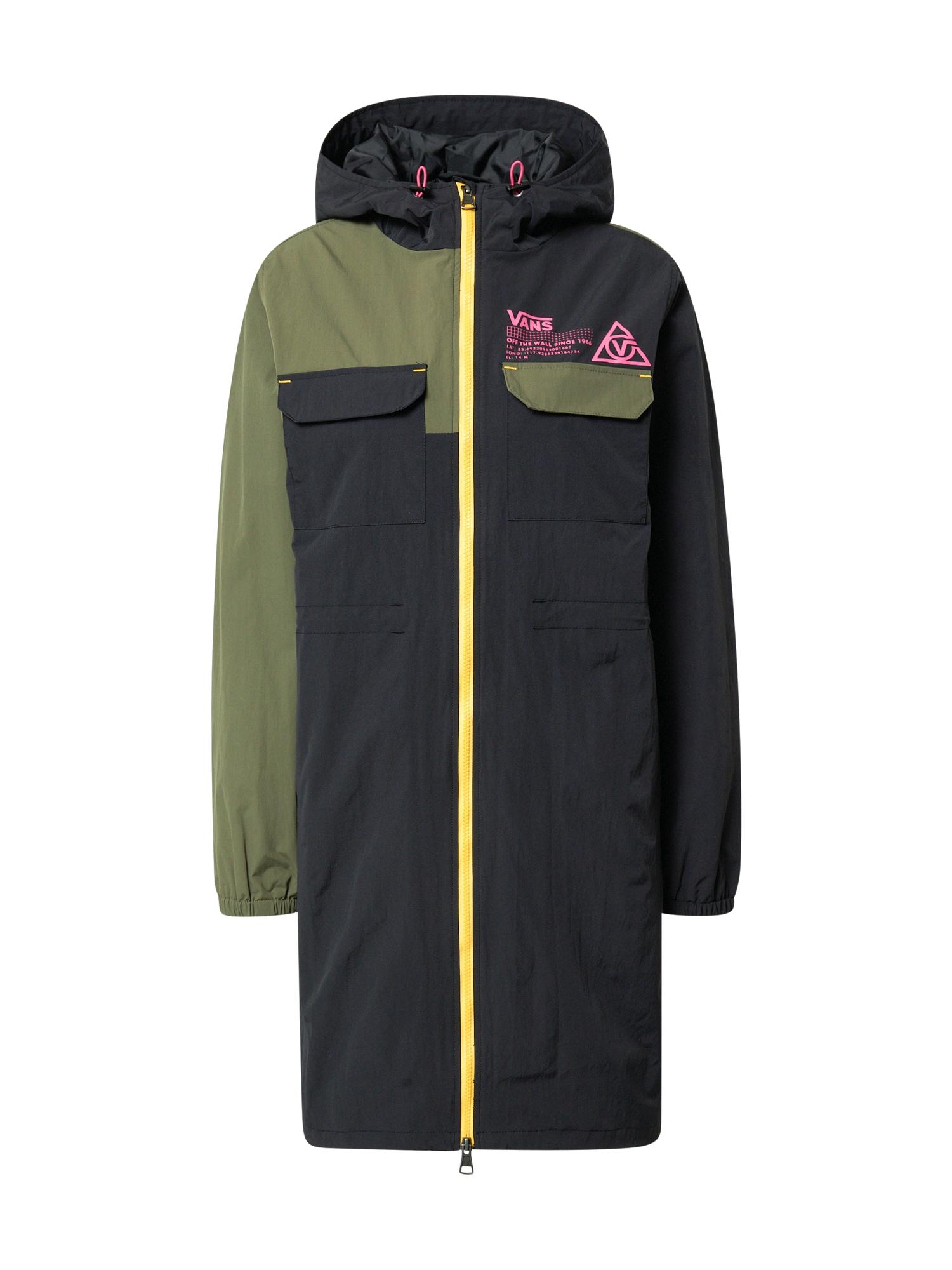 VANS Demisezoninis paltas juoda / rusvai žalia / geltona