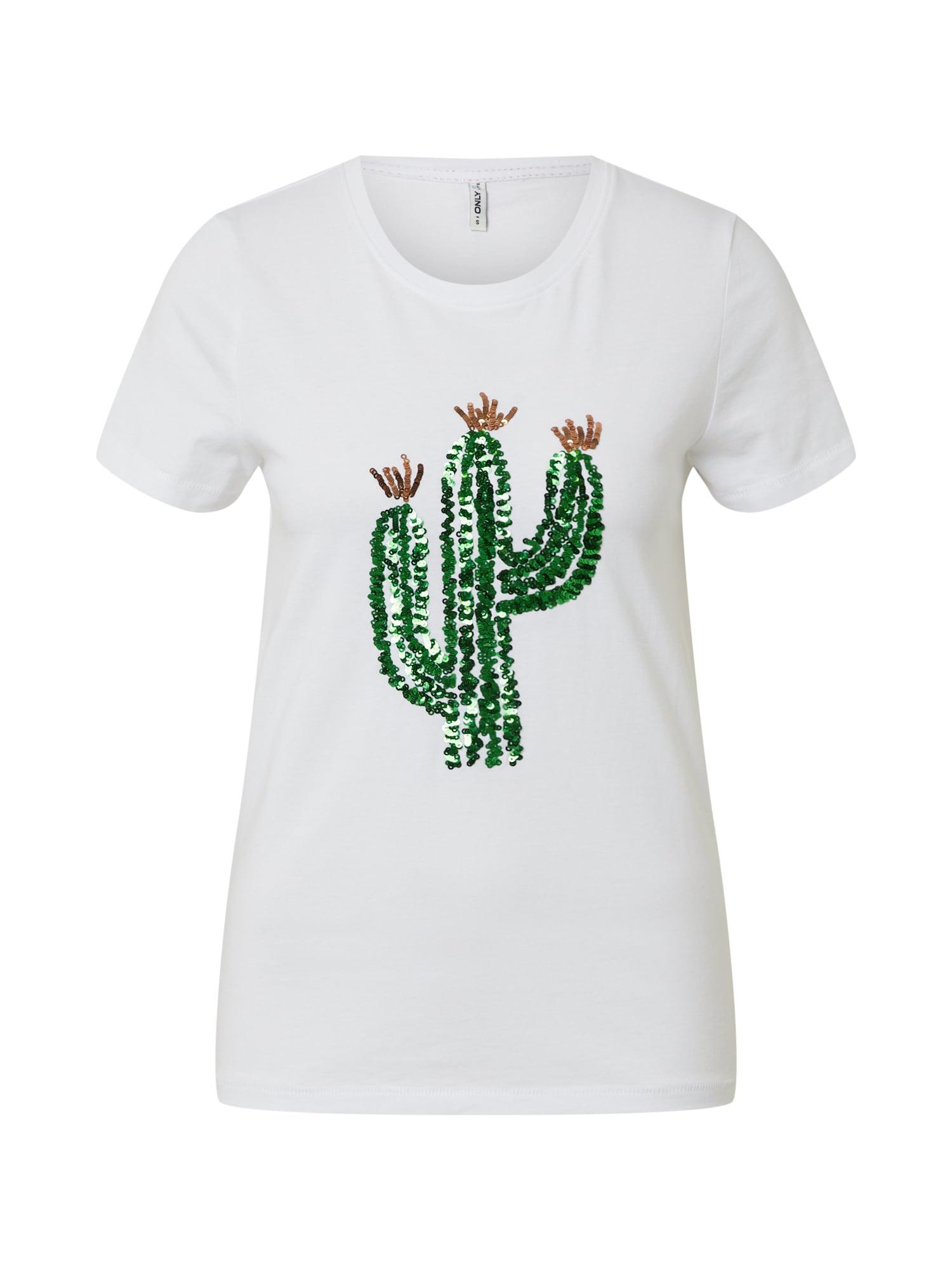 ONLY Póló 'KITA'  zöld / fehér