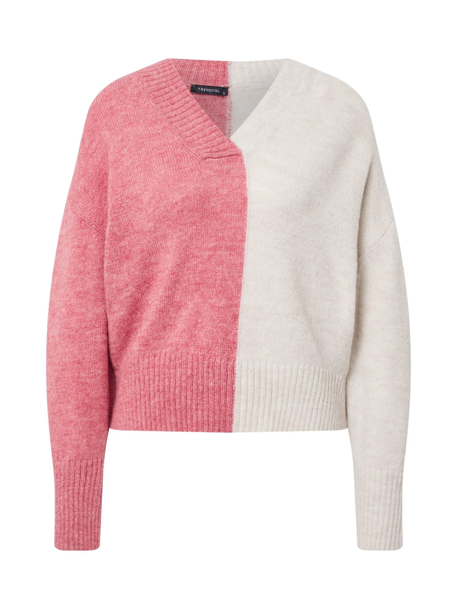 Trendyol Megztinis rožinė / kremo