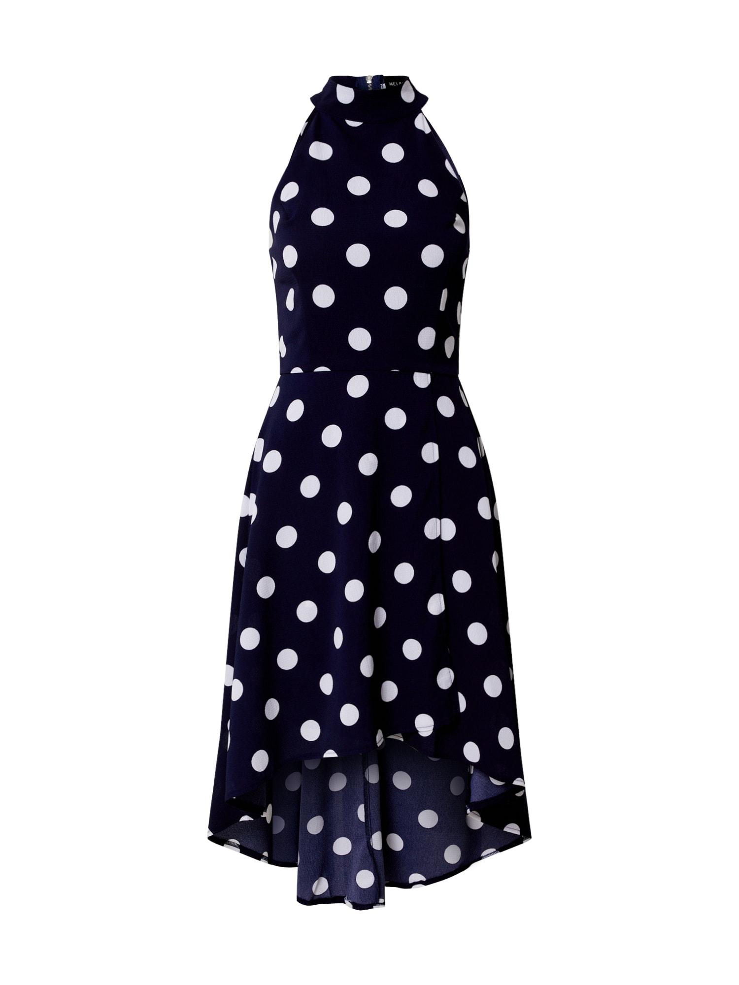 Mela London Suknelė 'Polka Dot' tamsiai mėlyna / balta
