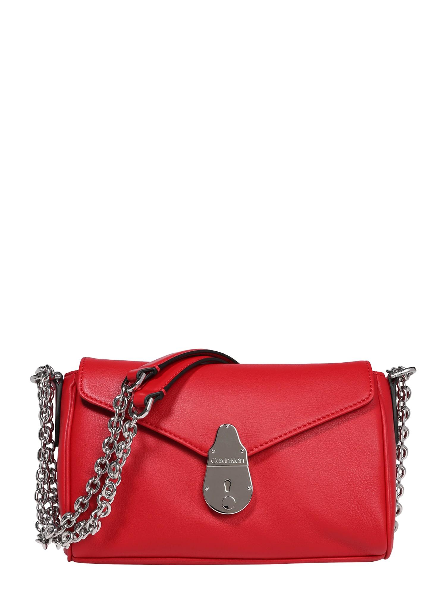 Calvin Klein Rankinė su ilgu dirželiu raudona / sidabras