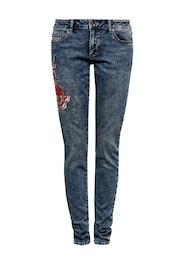 Q/S Designed By Damen Sadie Superskinny: Bestickte Jeans blau | 04056523477979