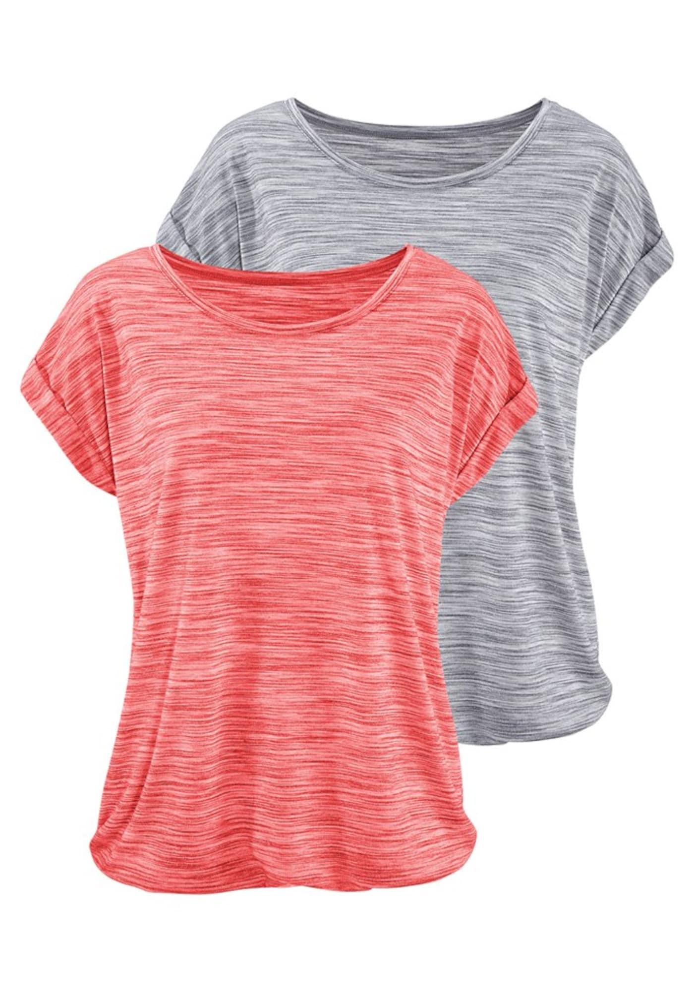 BEACH TIME Marškinėliai margai pilka / margai rožinė