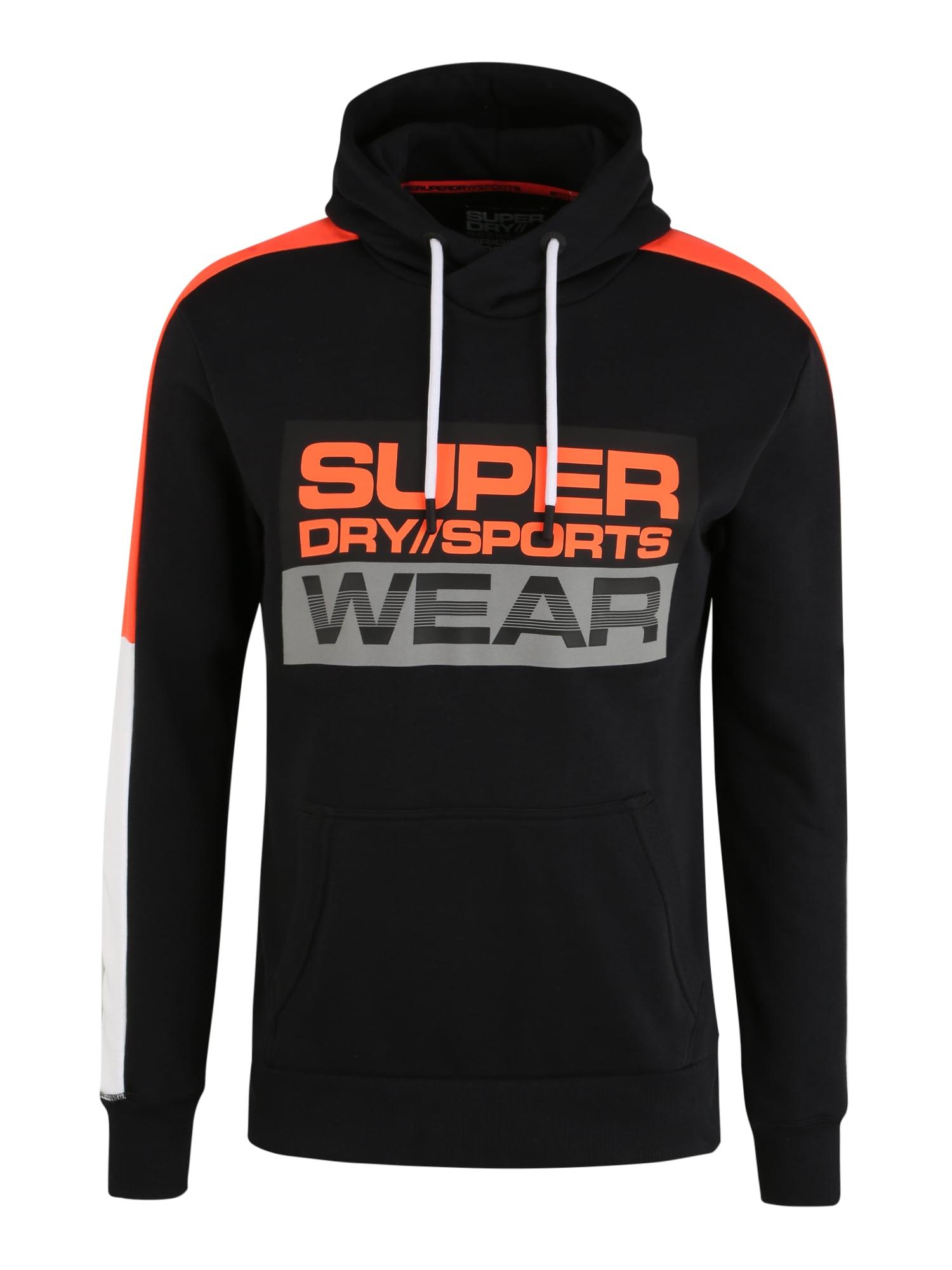 Superdry Sportinio tipo megztinis balta / juoda / oranžinė