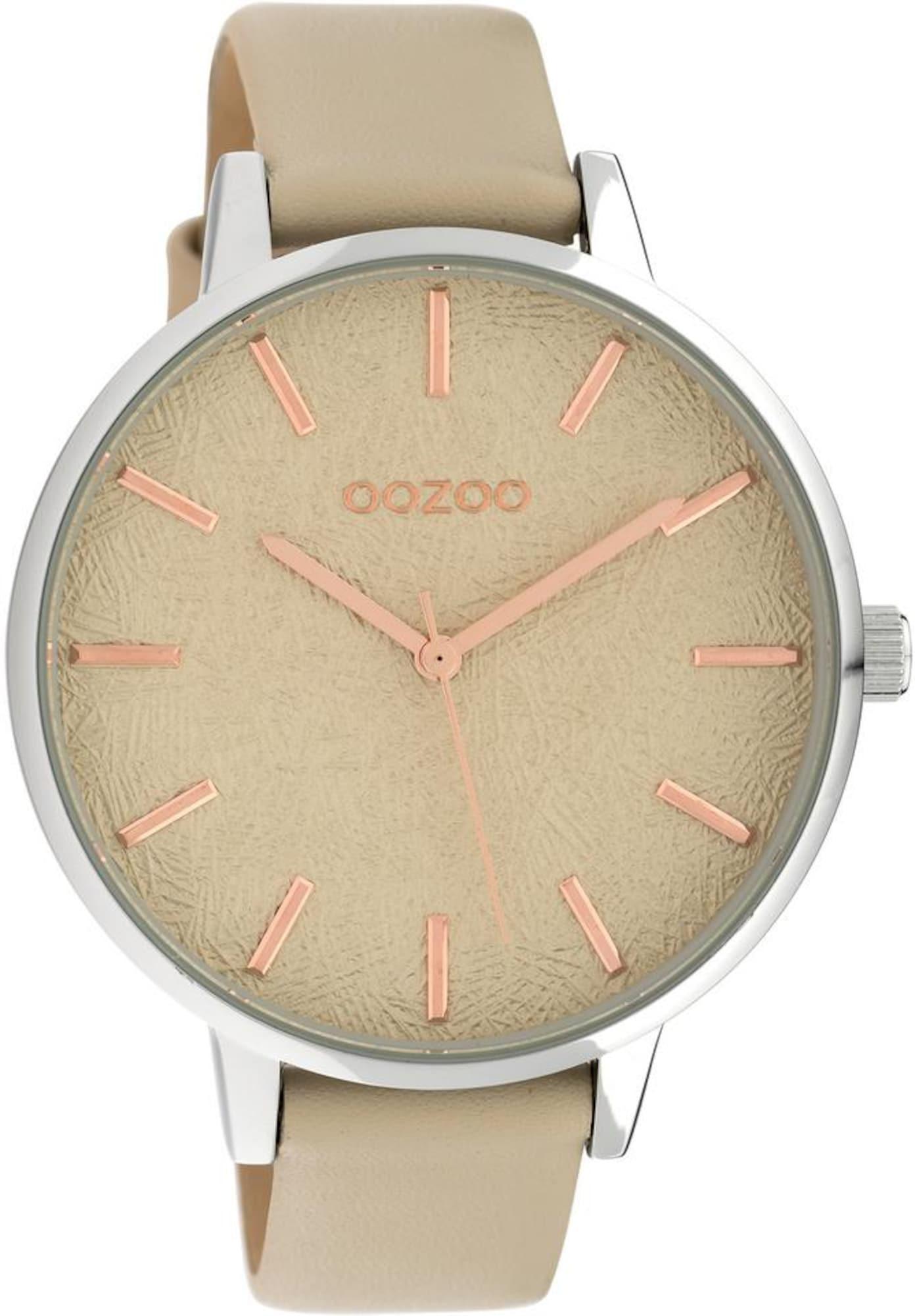 Damen OOZOO Quarzuhr 'C10158' beige,  silber | 08719929011791