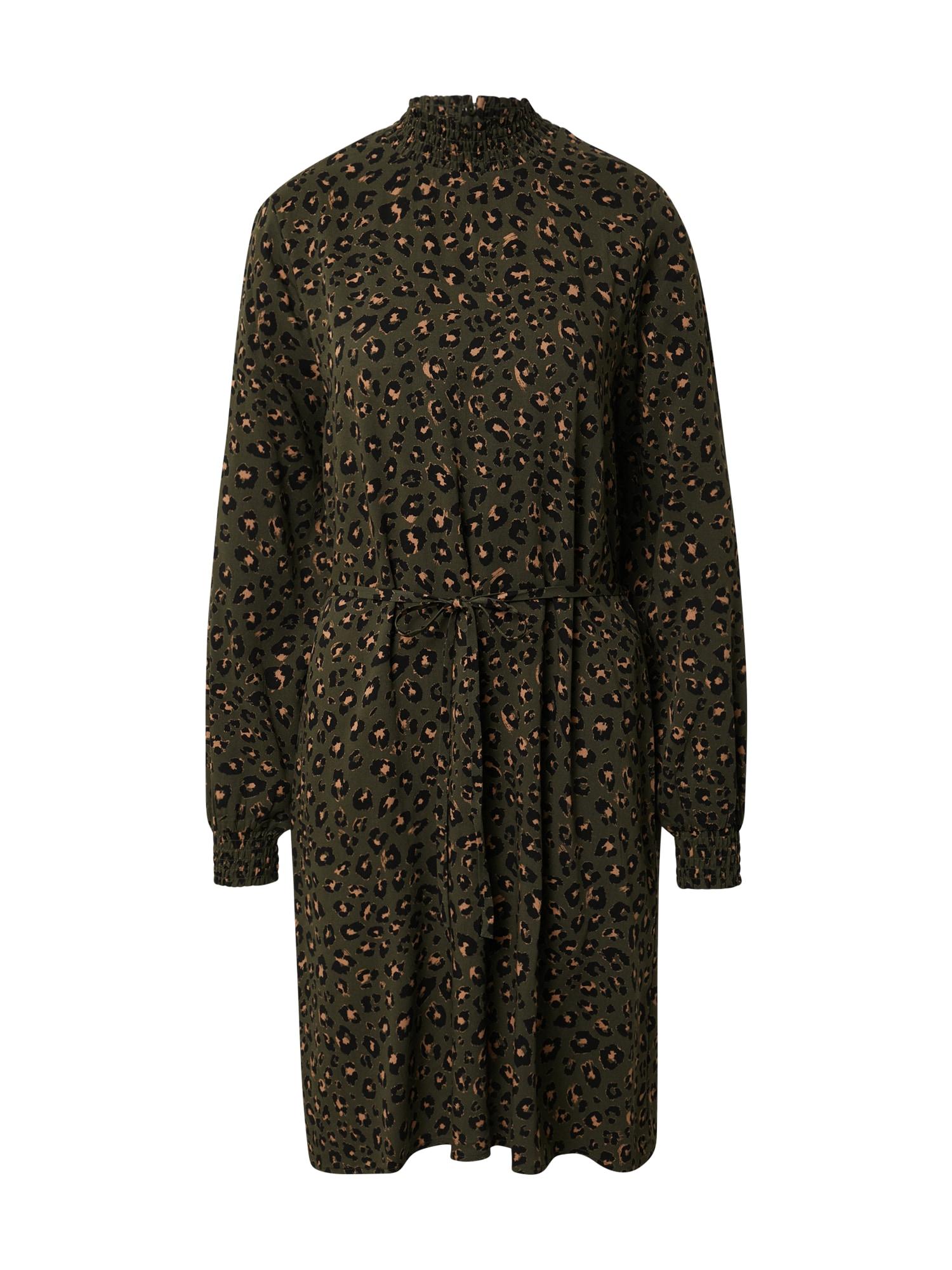 VILA Šaty 'Vidania'  marhuľová / tmavozelená / čierna