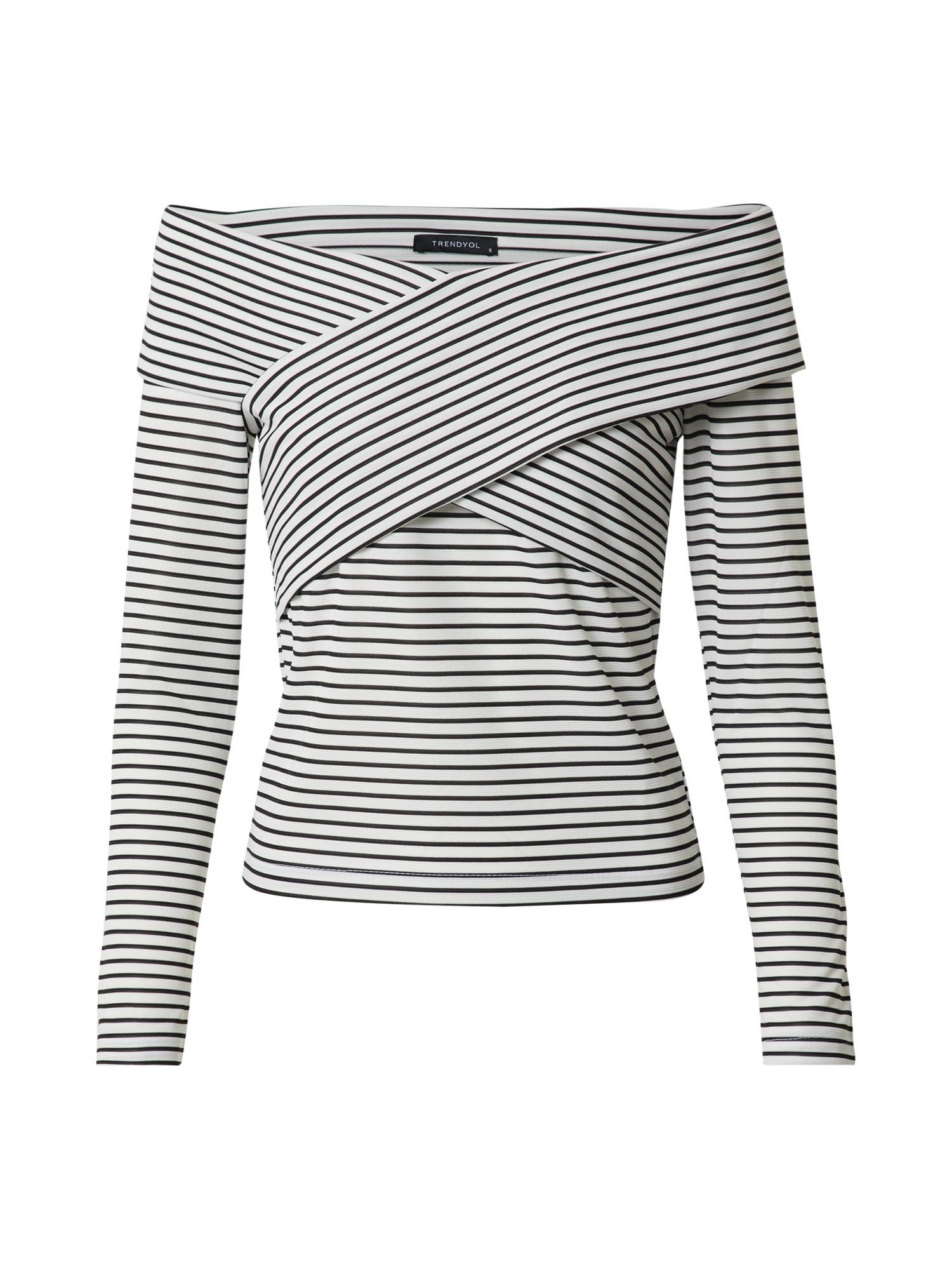 Trendyol Marškinėliai balta / juoda