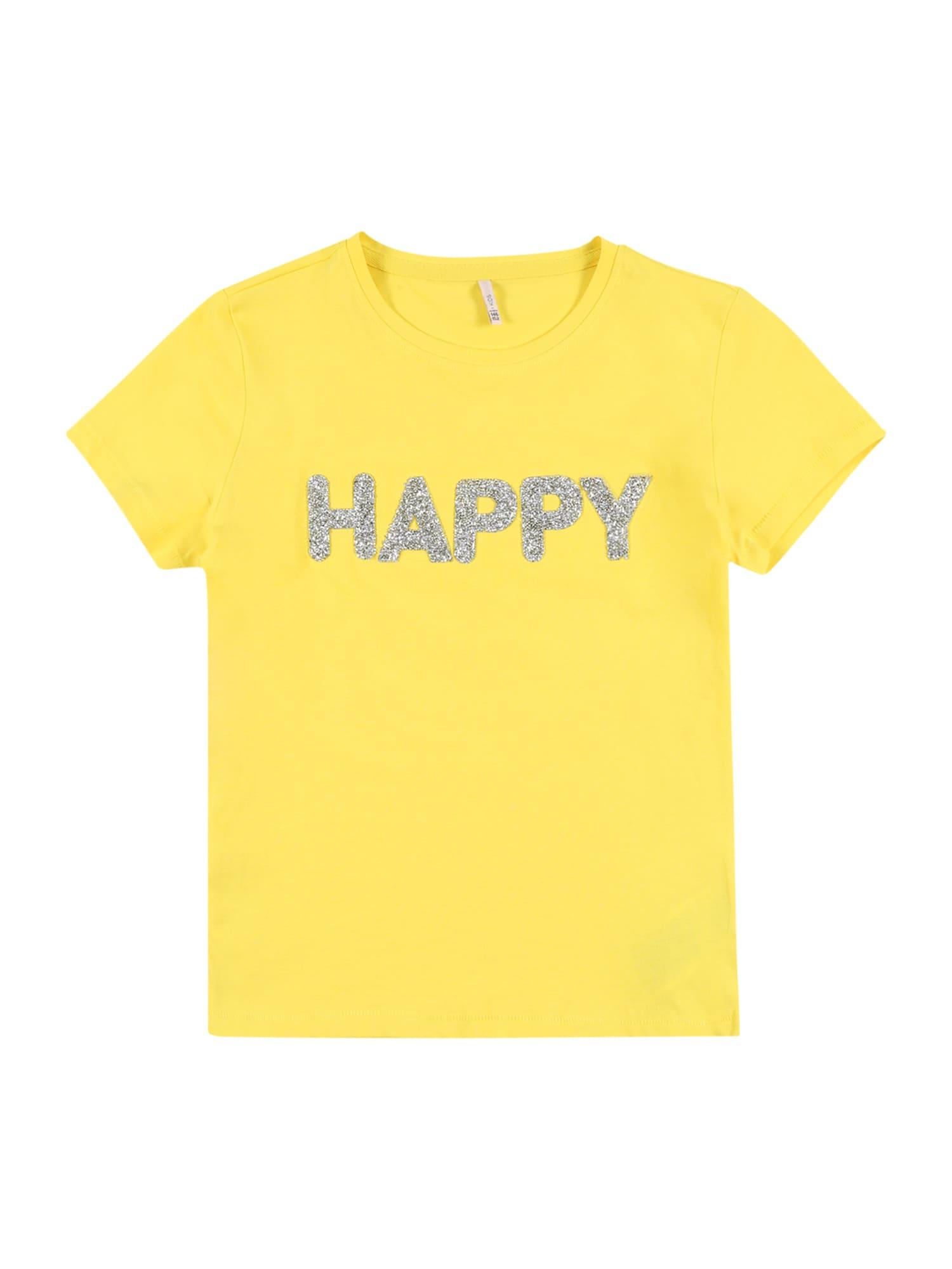 KIDS ONLY Marškinėliai 'VOYAGE LIFE' sidabras / geltona