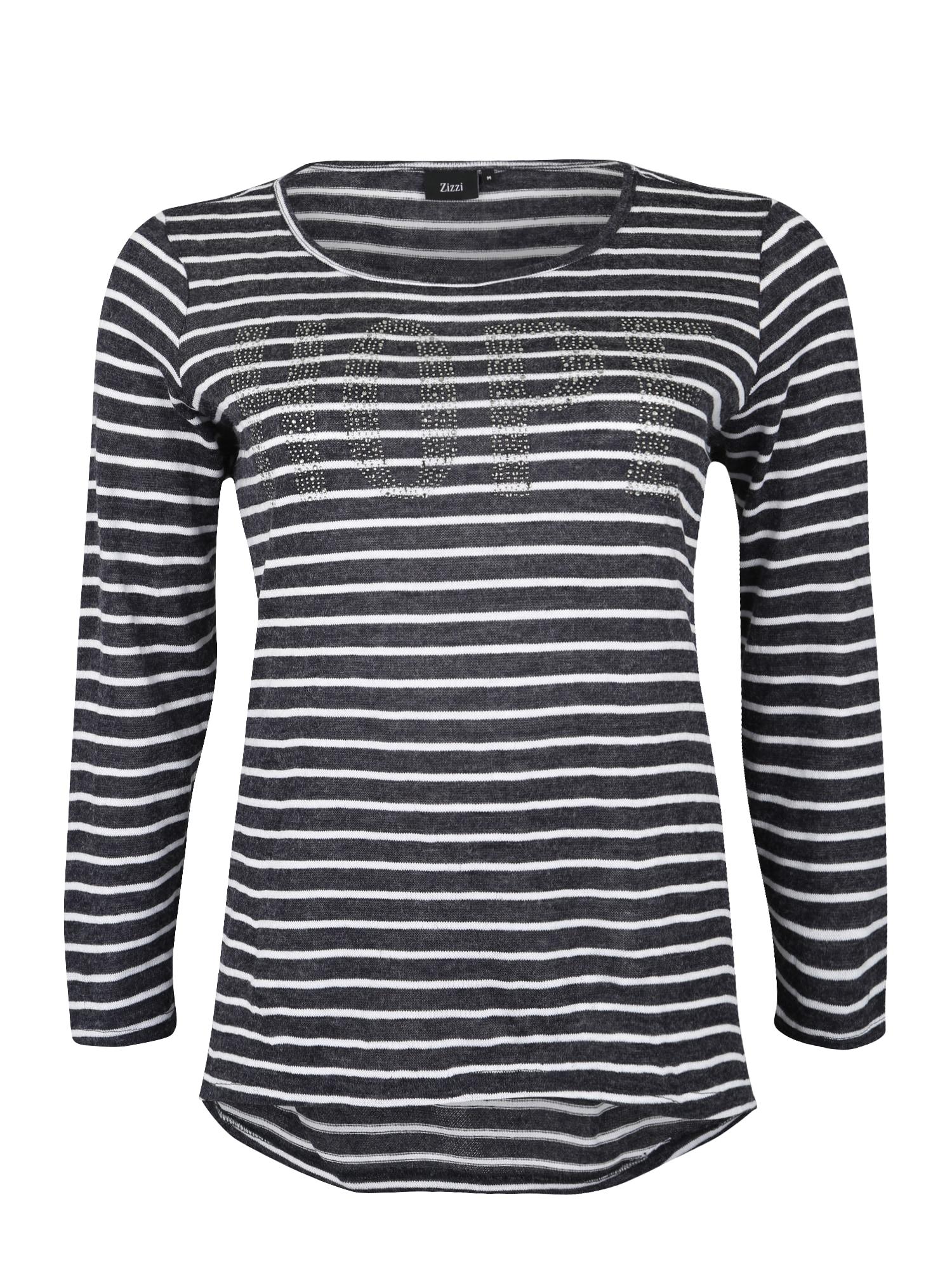 Zizzi Marškinėliai 'EINGE, L/S, BLOUSE' tamsiai pilka / balta