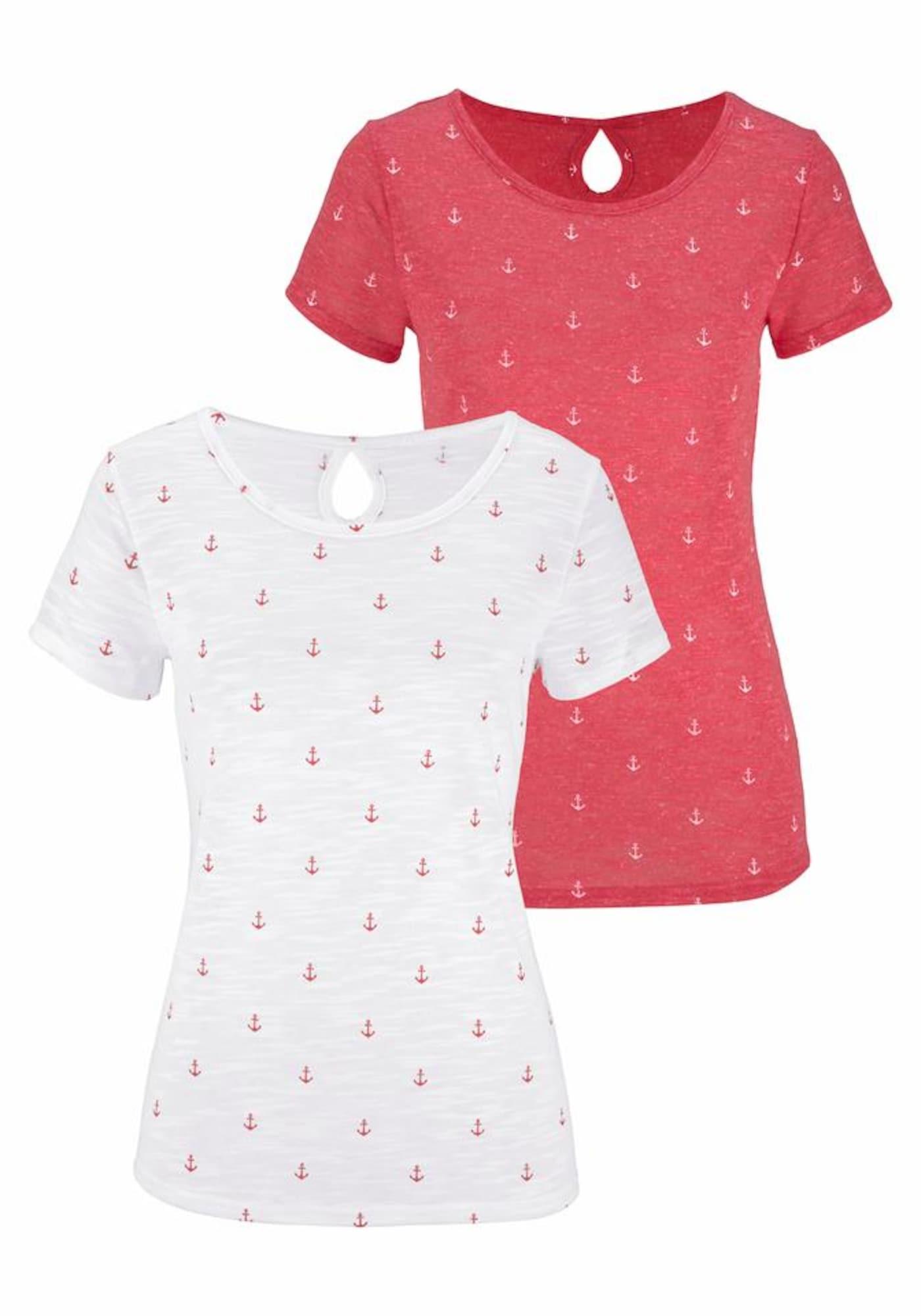 BEACH TIME Marškinėliai oranžinė-raudona / balta