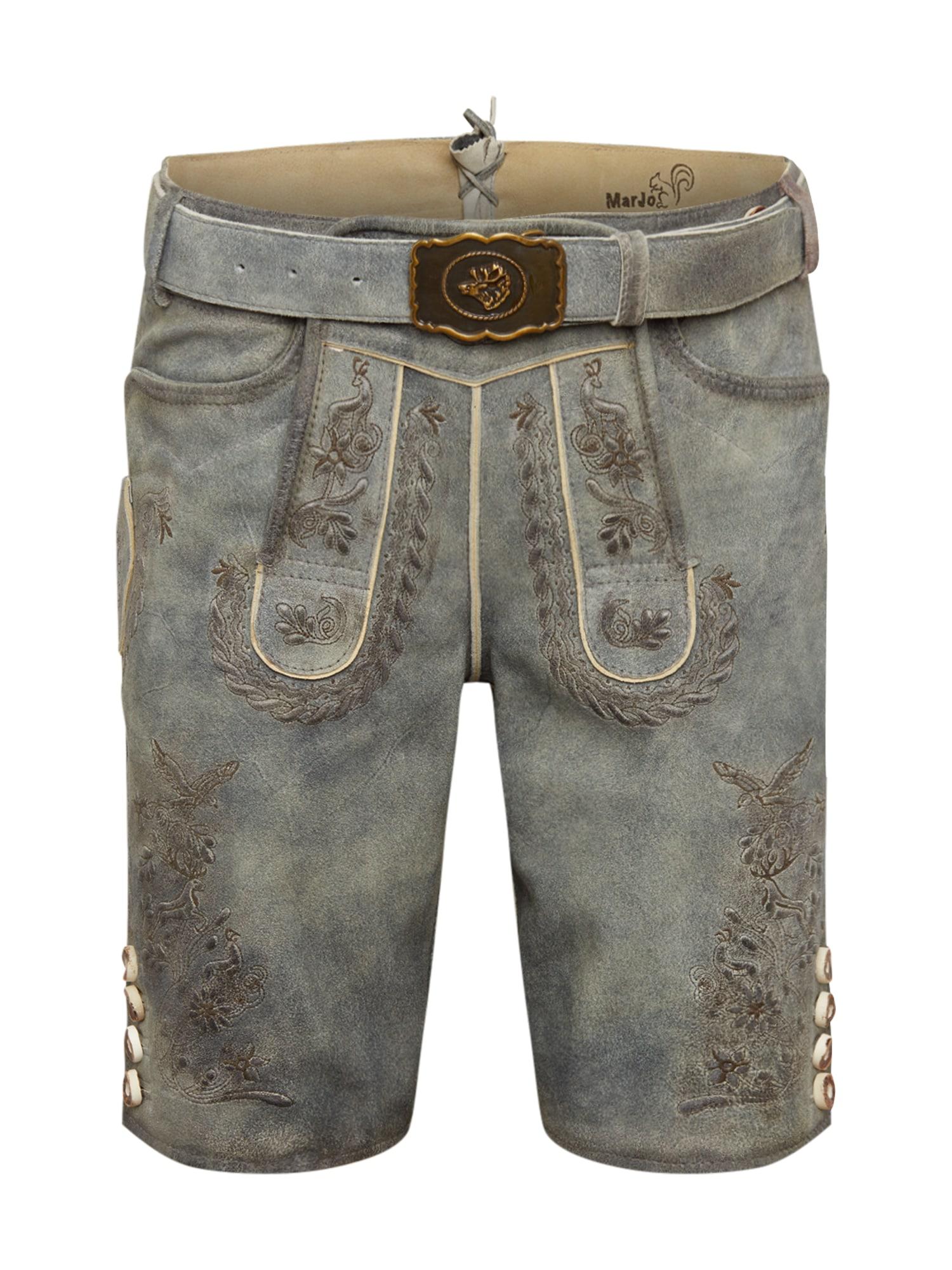 MARJO Kelnės su tradiciniais raštais pilka