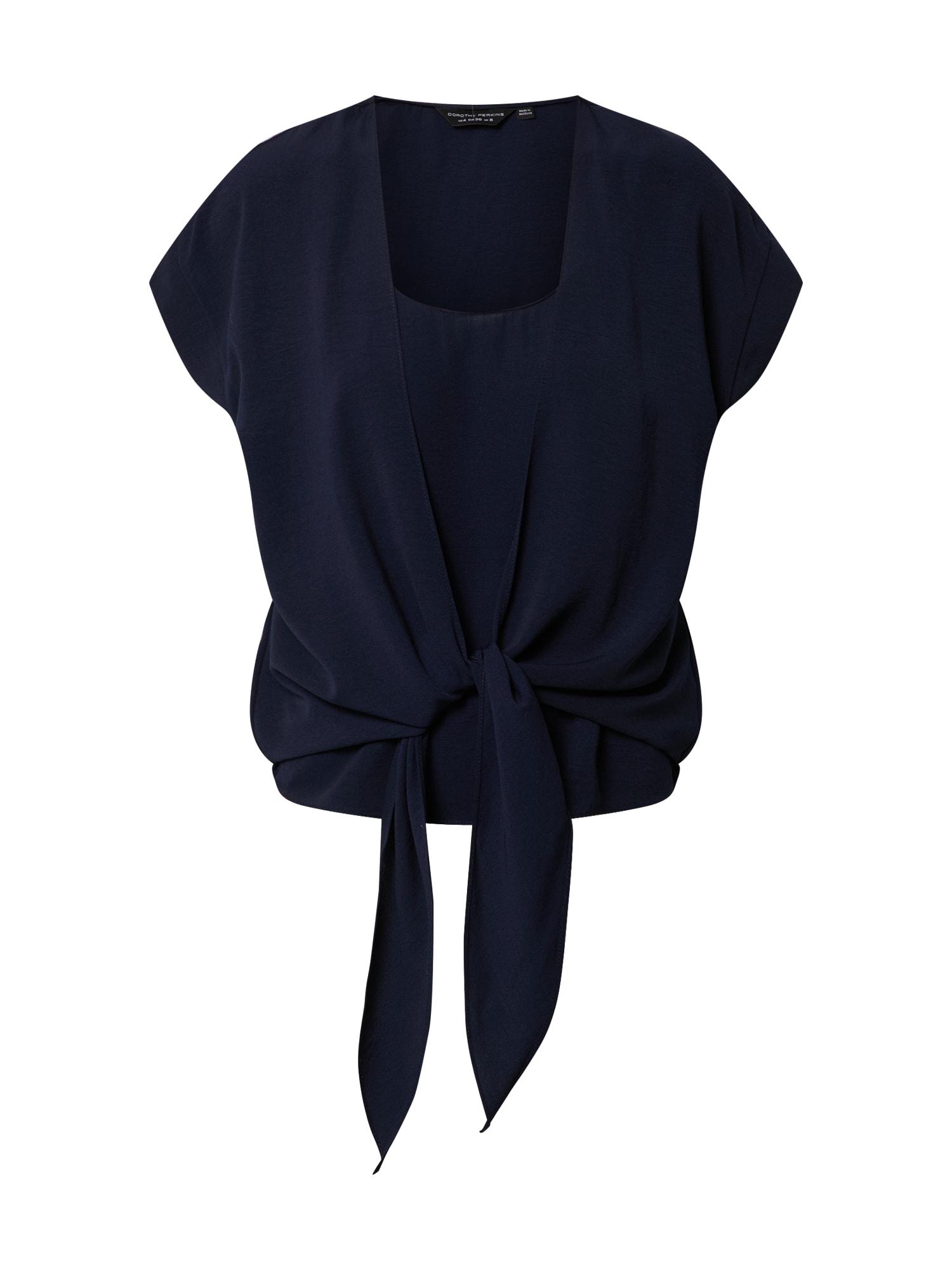 Dorothy Perkins Marškinėliai '2 IN 1 TIE TEE' tamsiai mėlyna