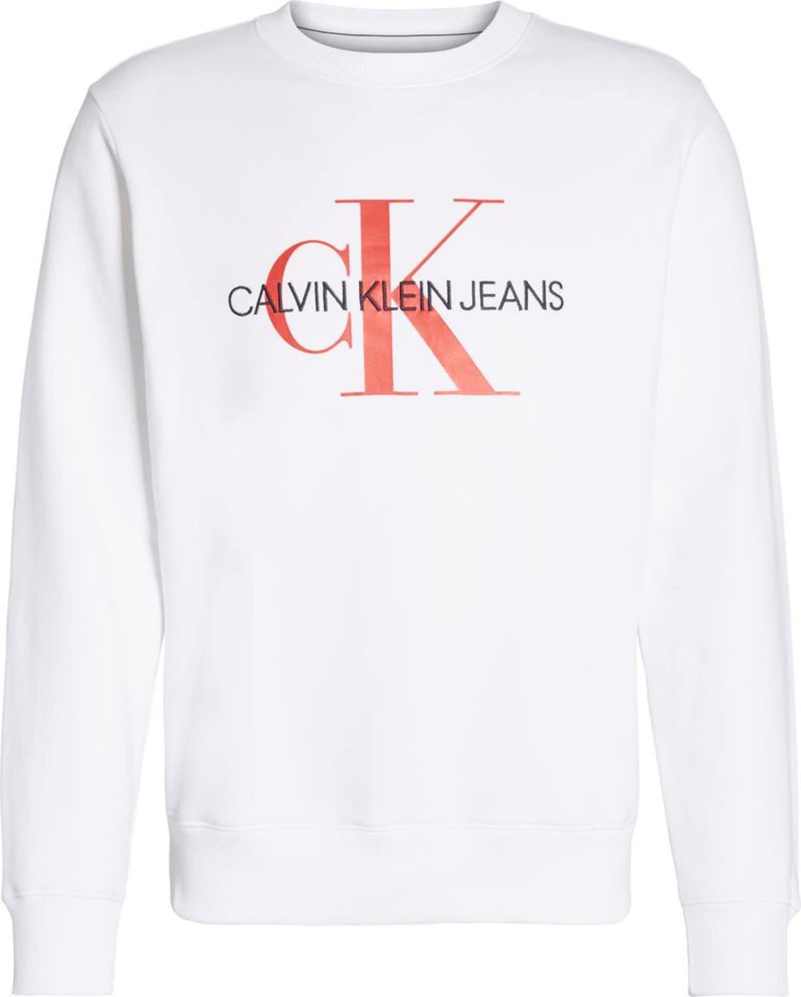 Calvin Klein Jeans Megztinis be užsegimo balta / oranžinė-raudona