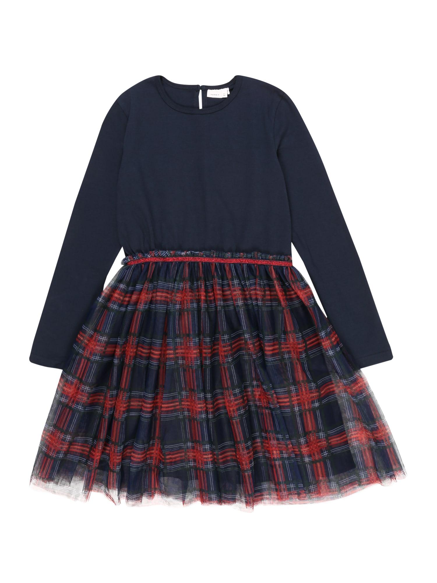 NAME IT Suknelė 'NKFRUBIA LS TULLE DRESS' tamsiai mėlyna / raudona