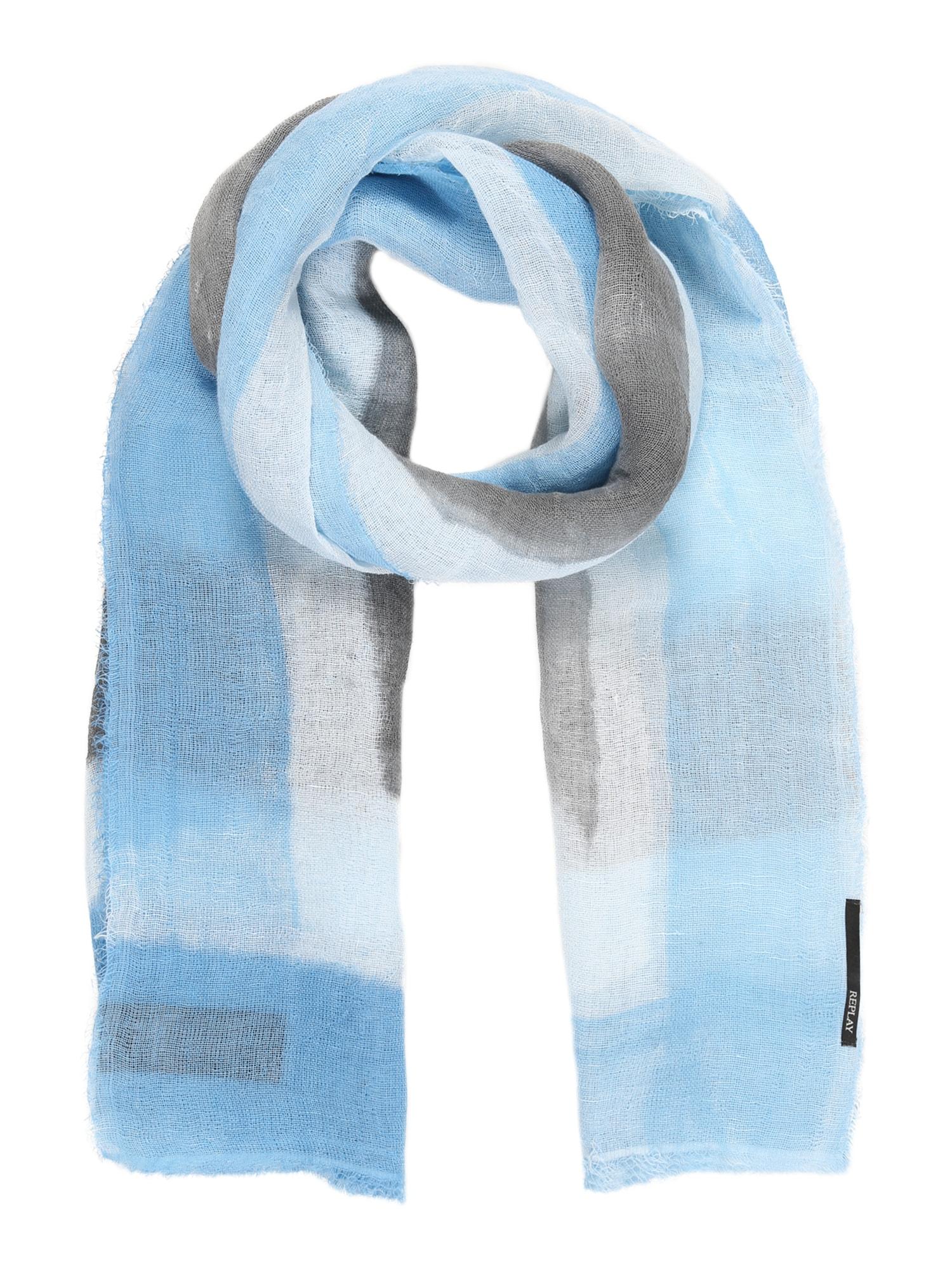 REPLAY Fular  alb / albastru deschis / gri