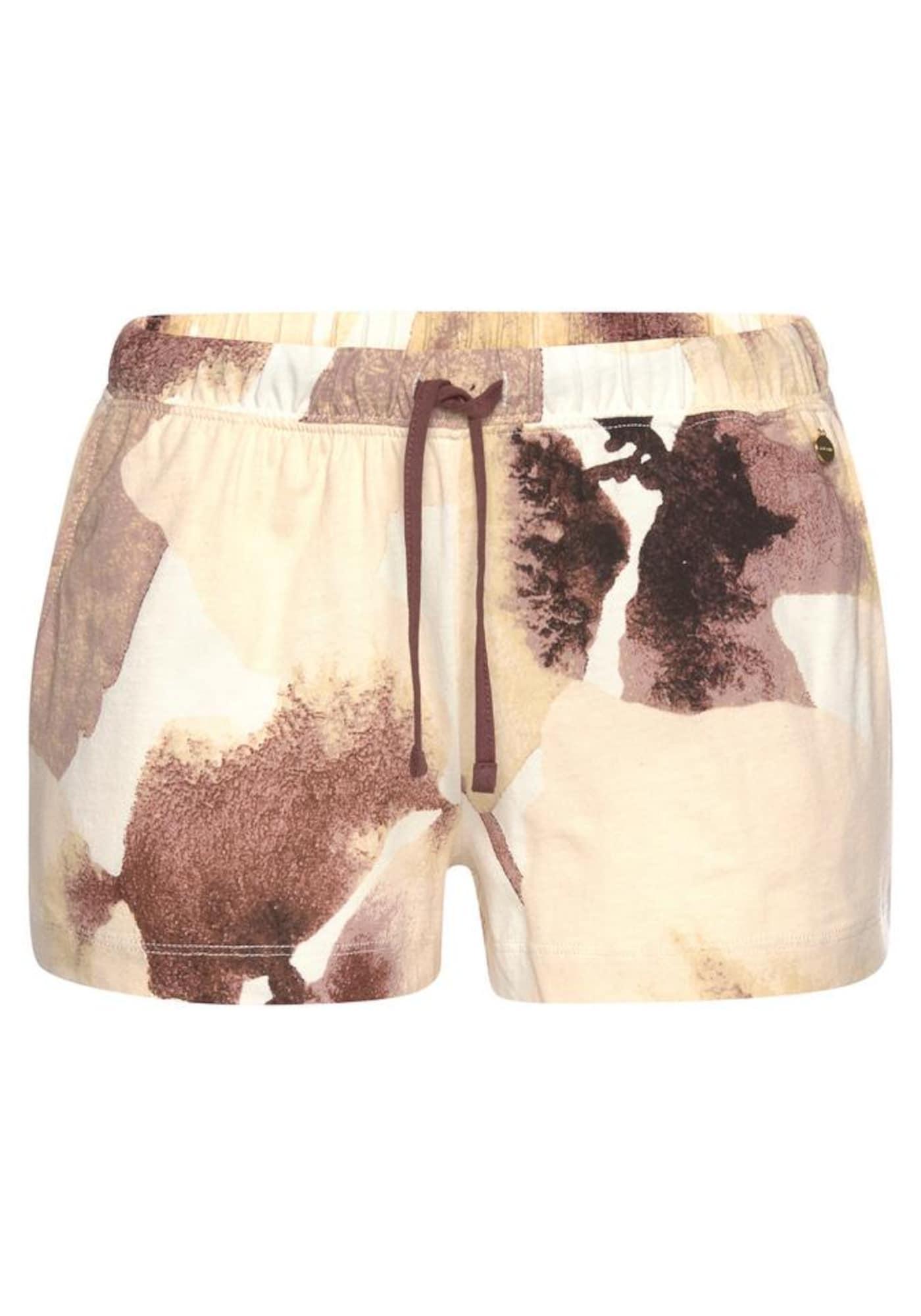 LASCANA Pižaminės kelnės smėlio / ruda / tamsiai ruda