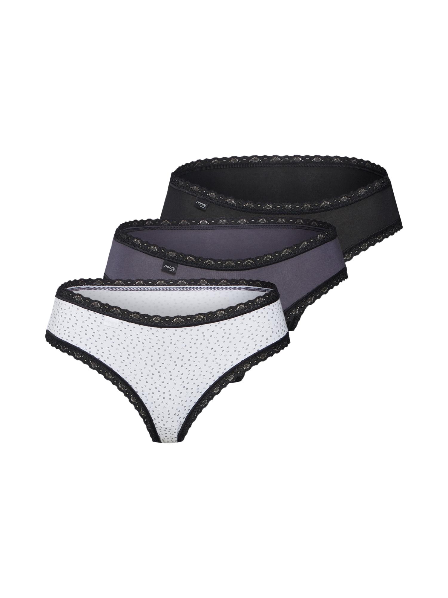 SLOGGI Nohavičky  biela / sivá / čierna