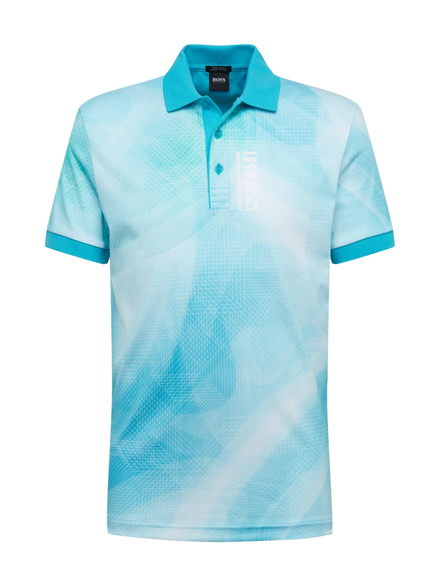 BOSS ATHLEISURE Marškinėliai 'Paddy 6' mėlyna / balta