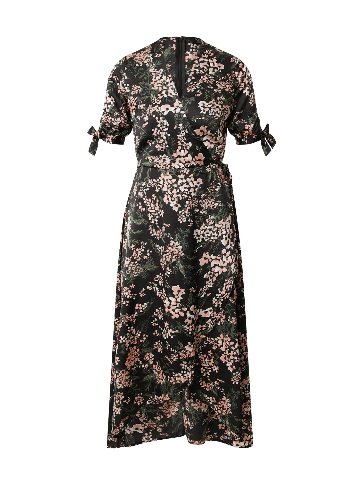 AX Paris Vasarinė suknelė juoda / rožinė / žalia