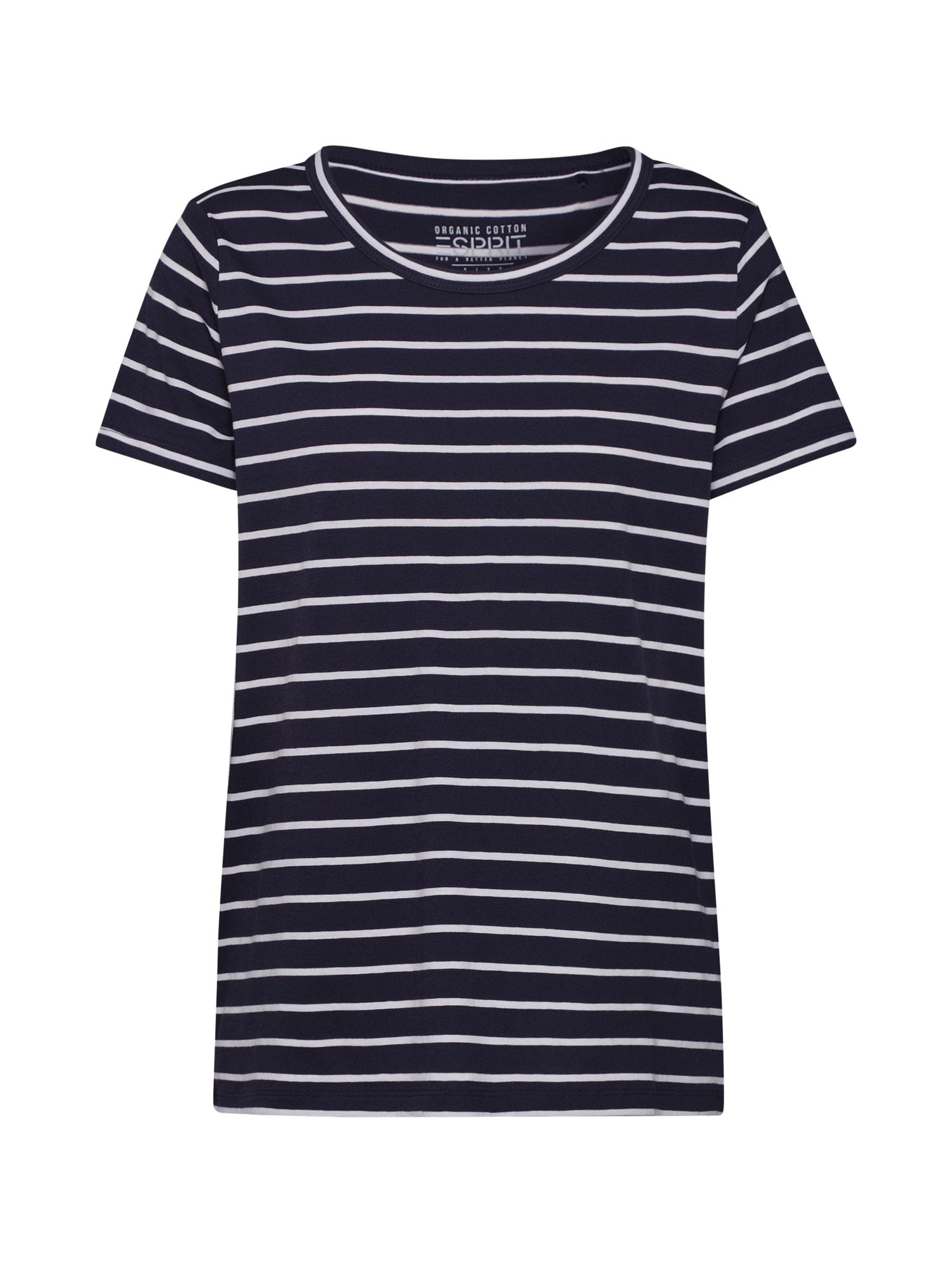 ESPRIT Marškinėliai balta / tamsiai mėlyna