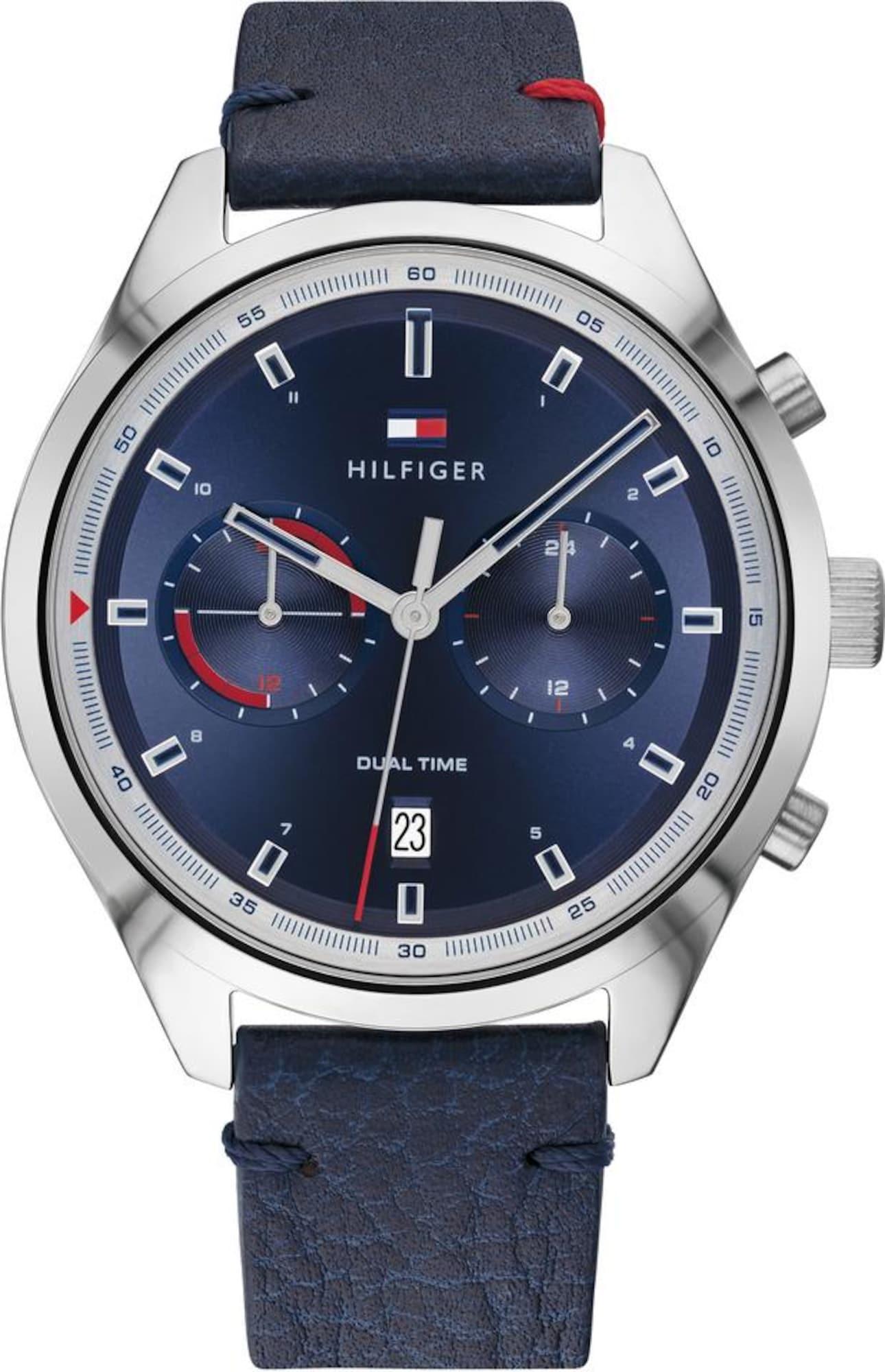 TOMMY HILFIGER Analoginis (įprasto dizaino) laikrodis tamsiai mėlyna / sidabrinė