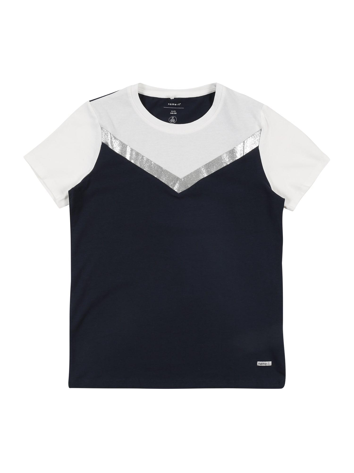 NAME IT Tričko  námořnická modř / stříbrná / bílá