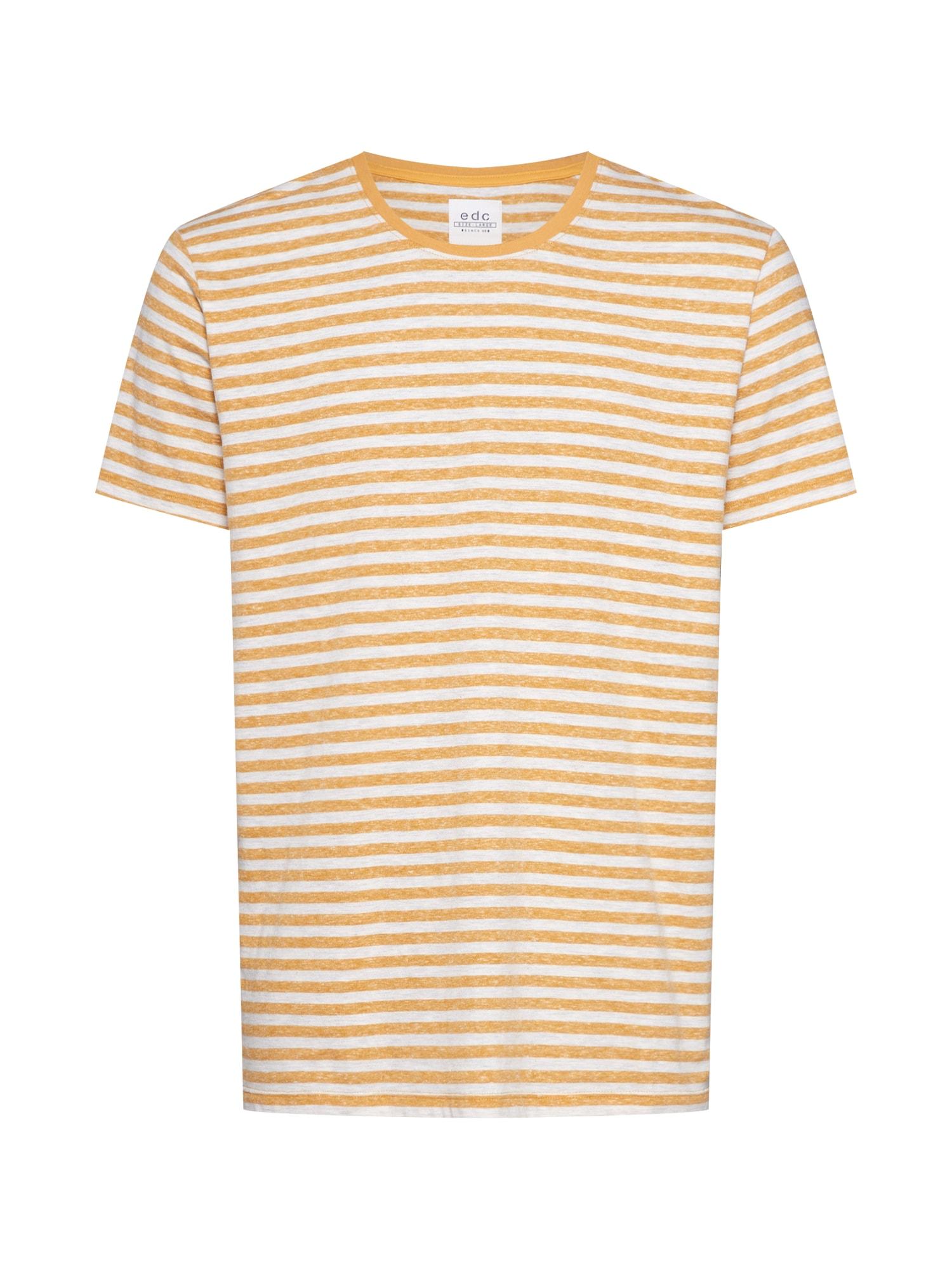 EDC BY ESPRIT Marškinėliai geltona / medaus spalva / balta