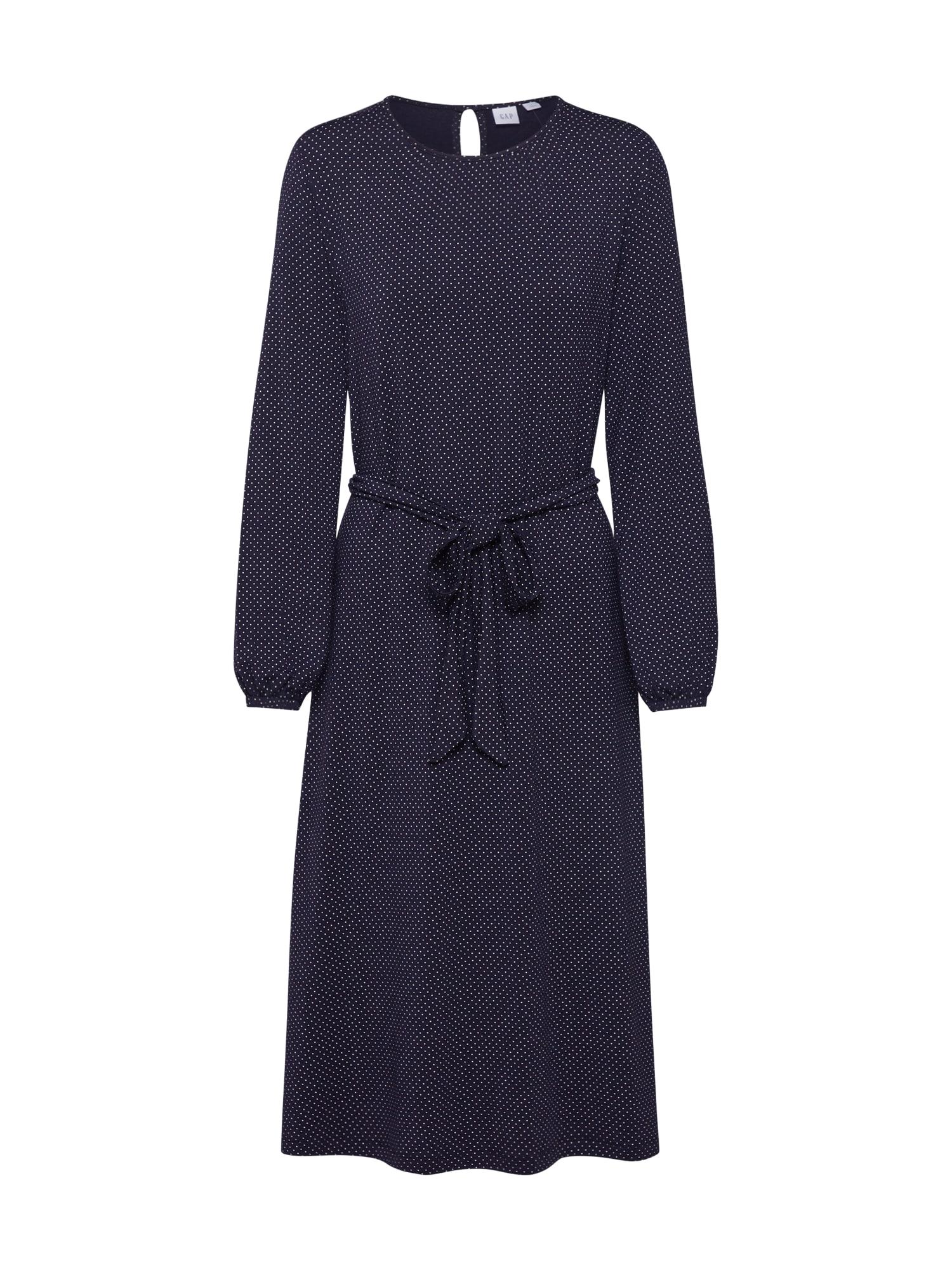 GAP Kokteilové šaty 'LS TIE WAIST MIDI DRS'  námornícka modrá / slonová kosť