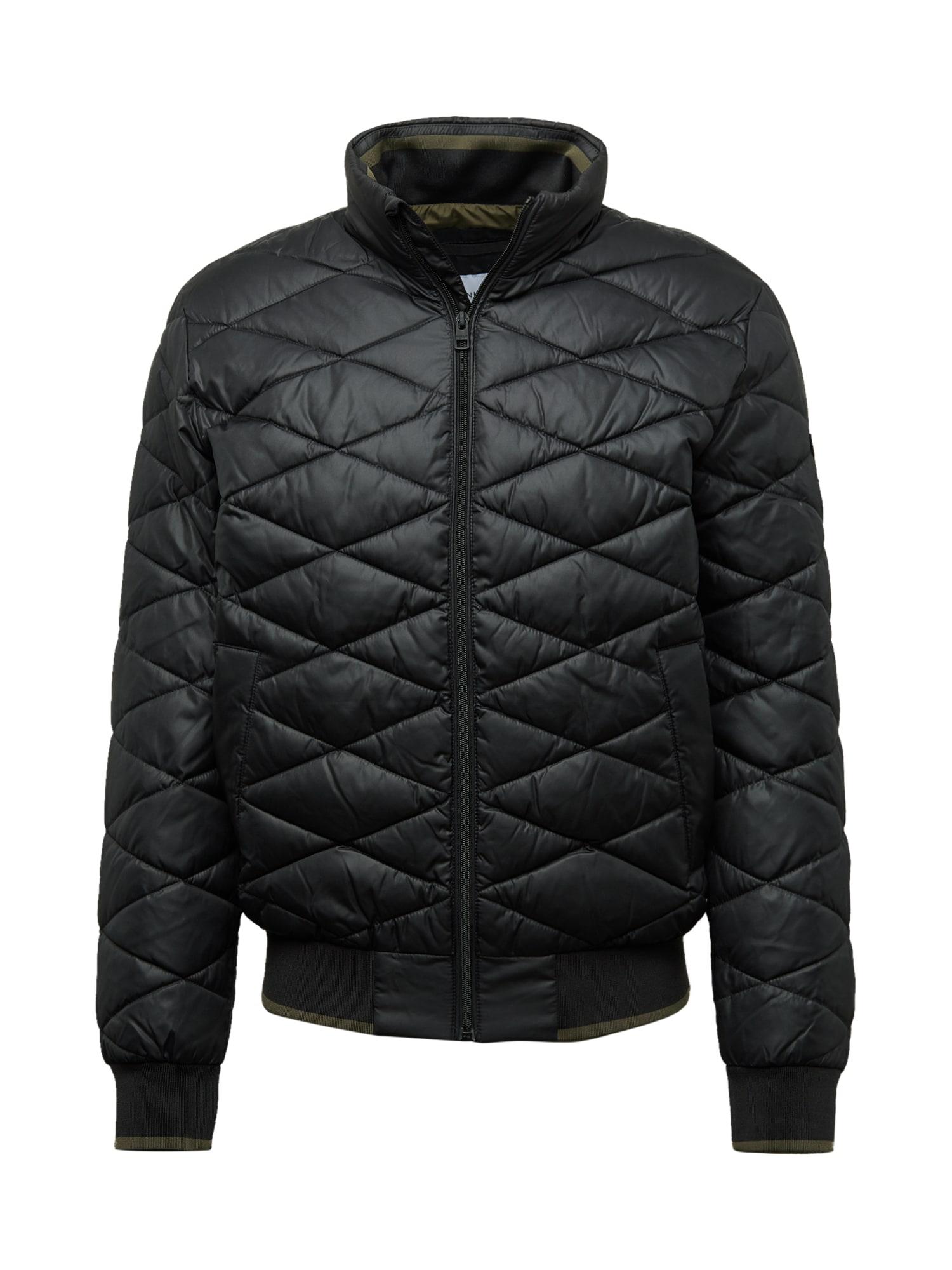 Calvin Klein Jeans Přechodná bunda 'UILTED STAND UP COLLAR JACKET'  černá