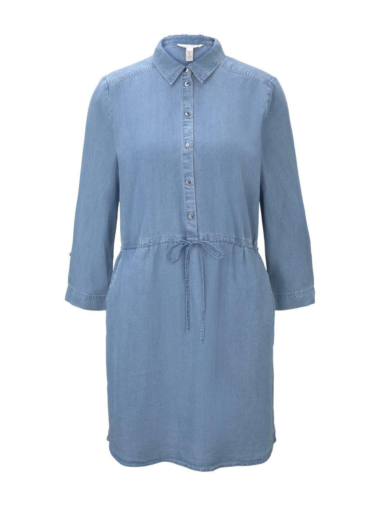 TOM TAILOR DENIM Palaidinės tipo suknelė tamsiai (džinso) mėlyna