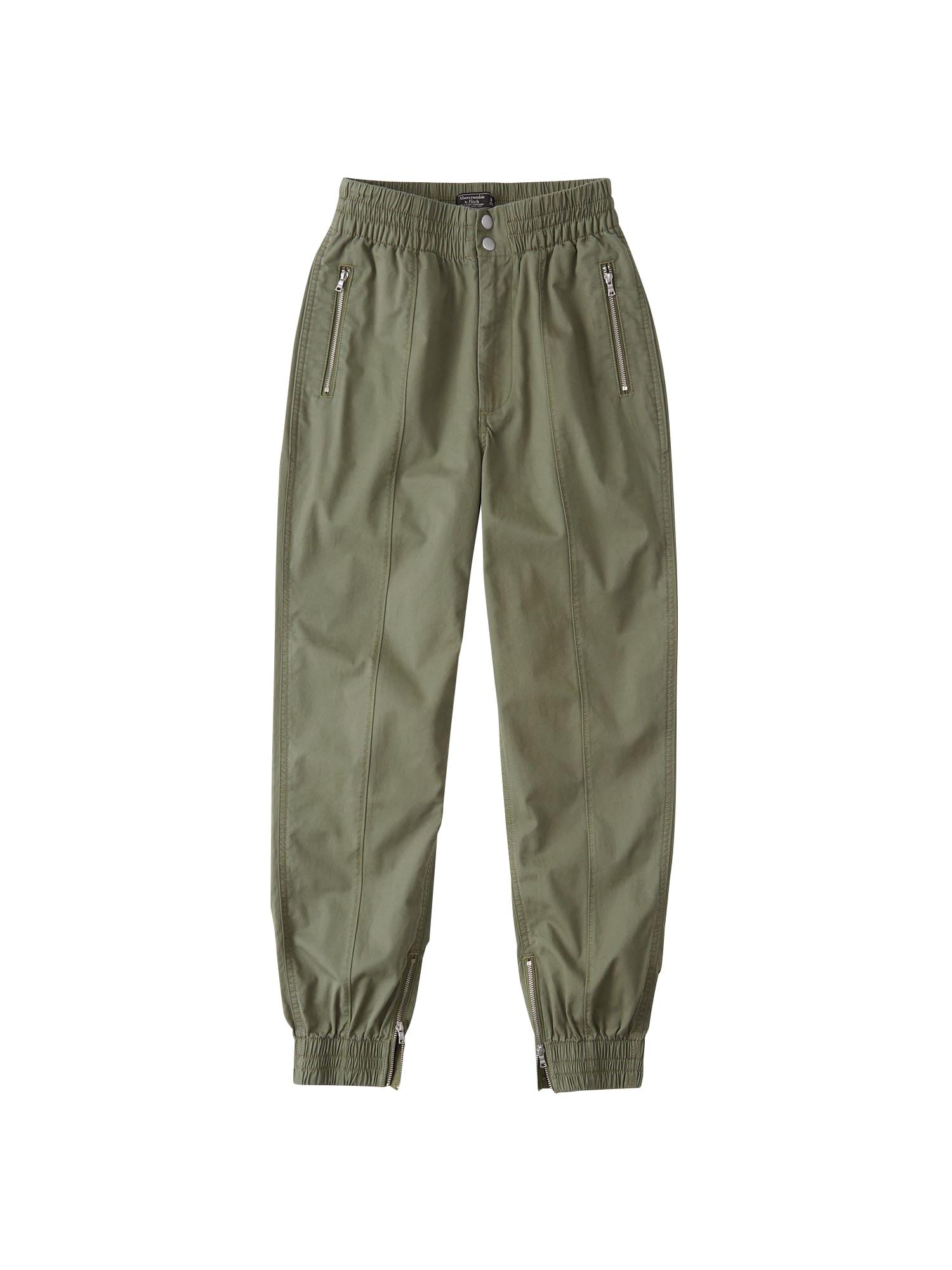 Kalhoty olivová Abercrombie & Fitch