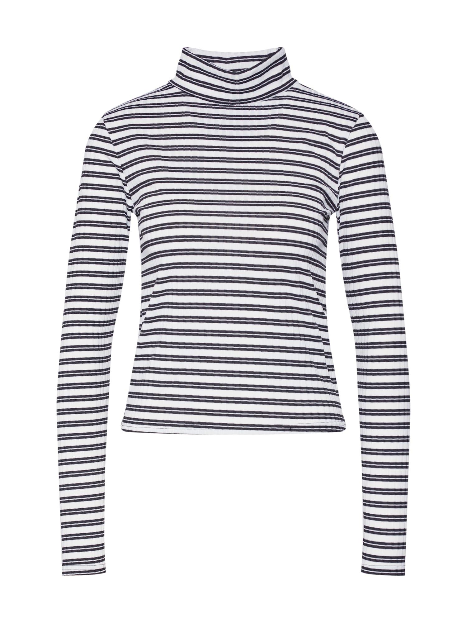 Missguided Tricou 'STRIPE GROWN ON NECK TOP'  negru / alb