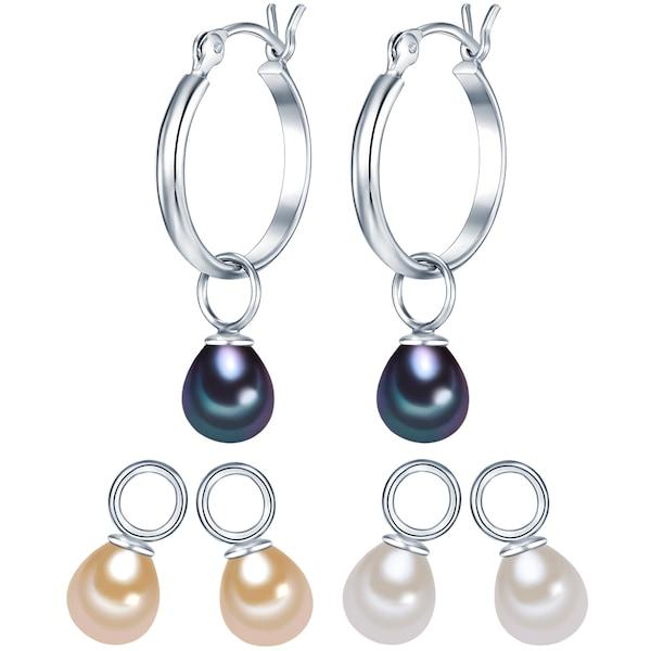 Schmucksets für Frauen - Valero Pearls Silber Creolen mit Süßwasser Zuchtperlen 3er Set champagner dunkelblau silber naturweiß  - Onlineshop ABOUT YOU