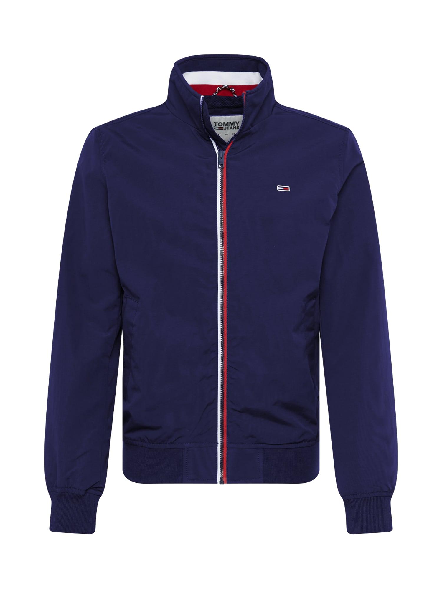 Tommy Jeans Žieminė striukė 'ESSENTIAL' balta / raudona / tamsiai mėlyna