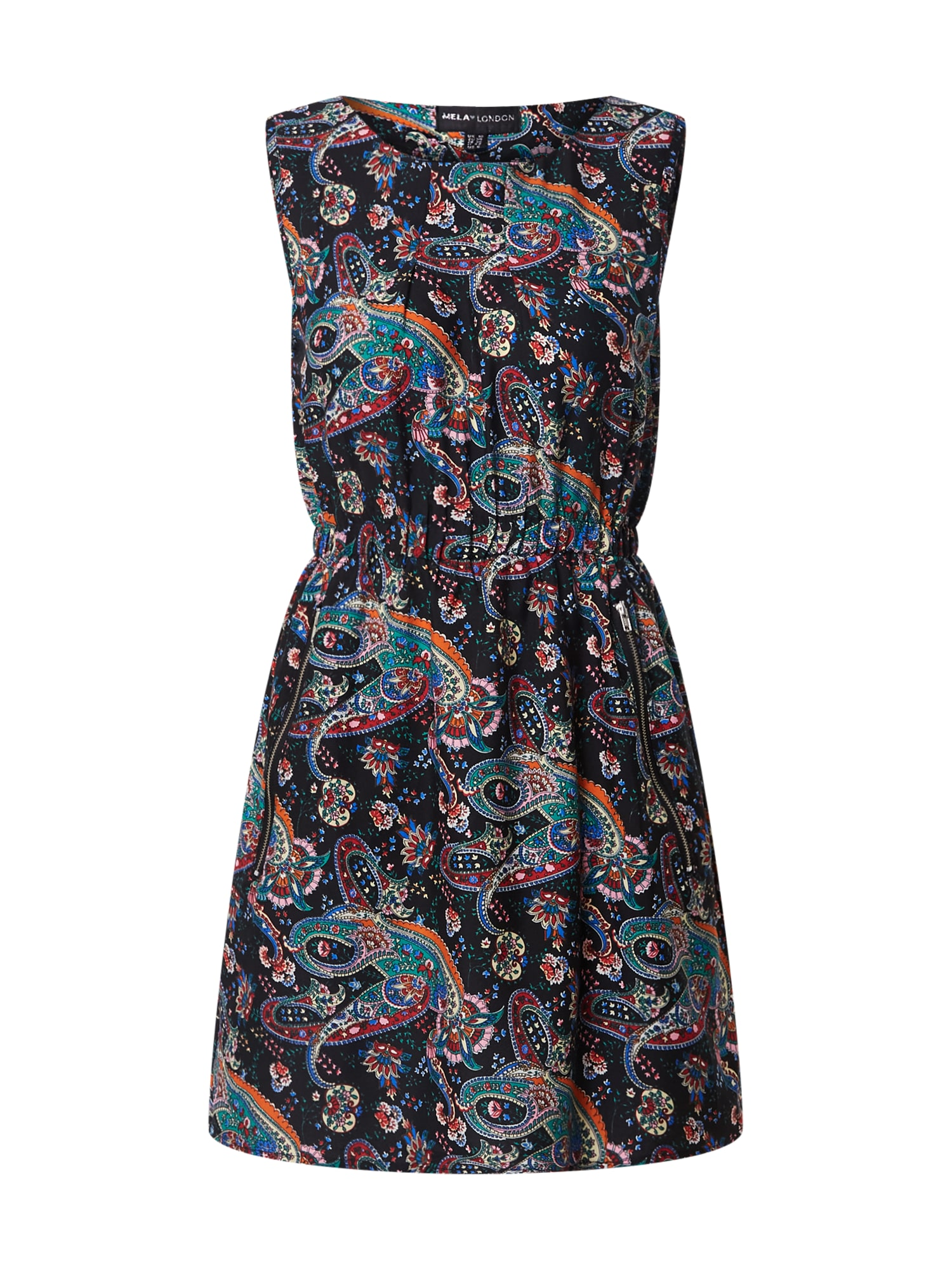 Mela London Vasarinė suknelė juoda / mėlyna / turkio spalva