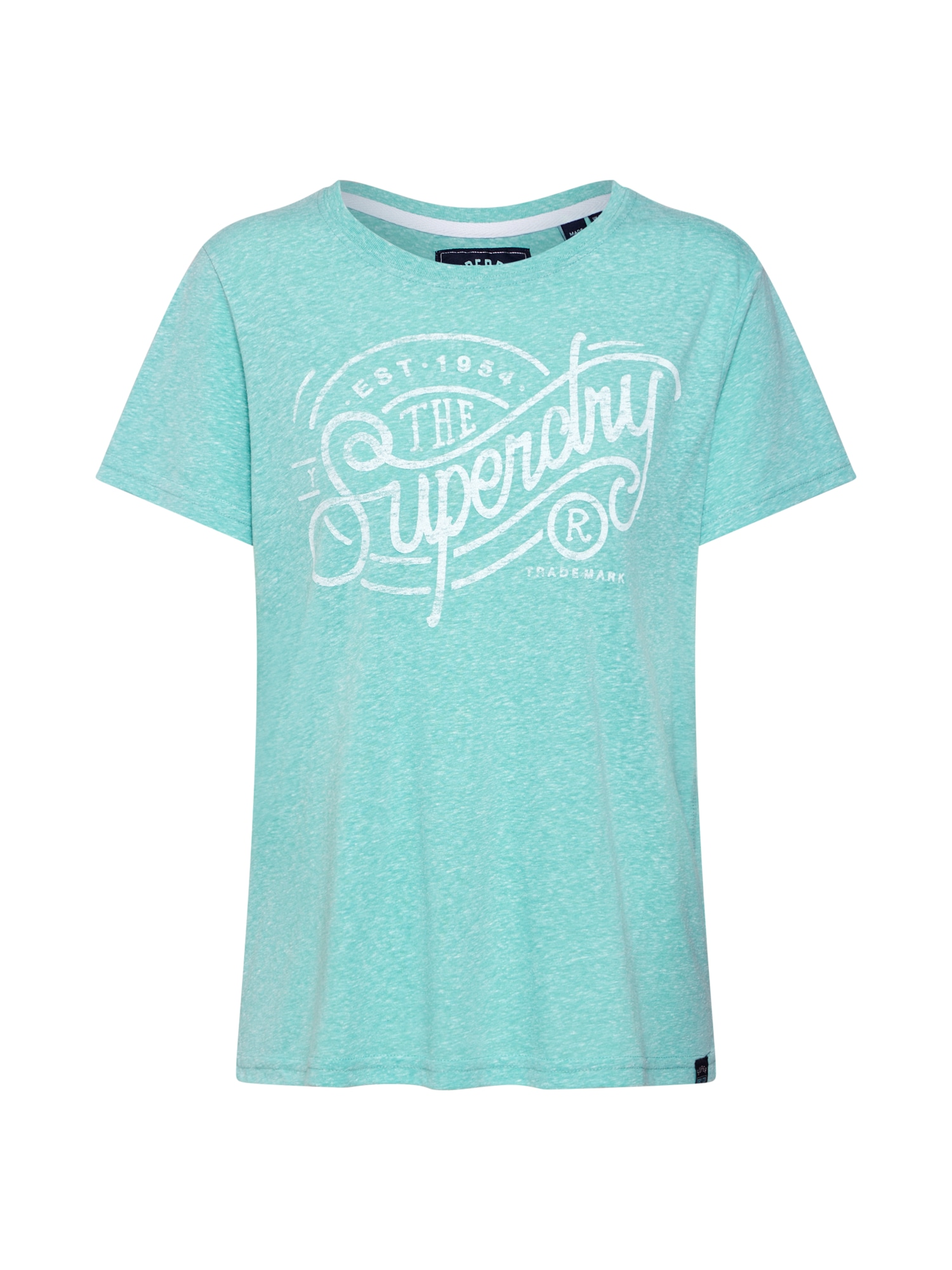 Tričko Established Trademark nefritová bílá Superdry
