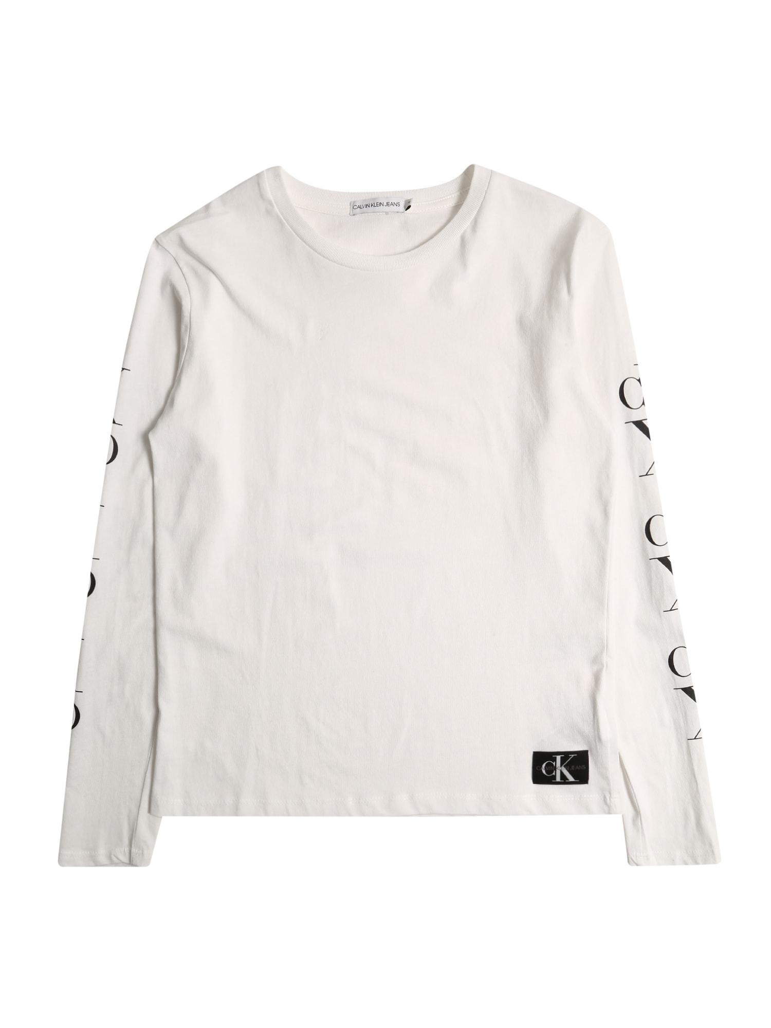 Calvin Klein Jeans Marškinėliai 'MIRROR MONOGRAM LS T' balta