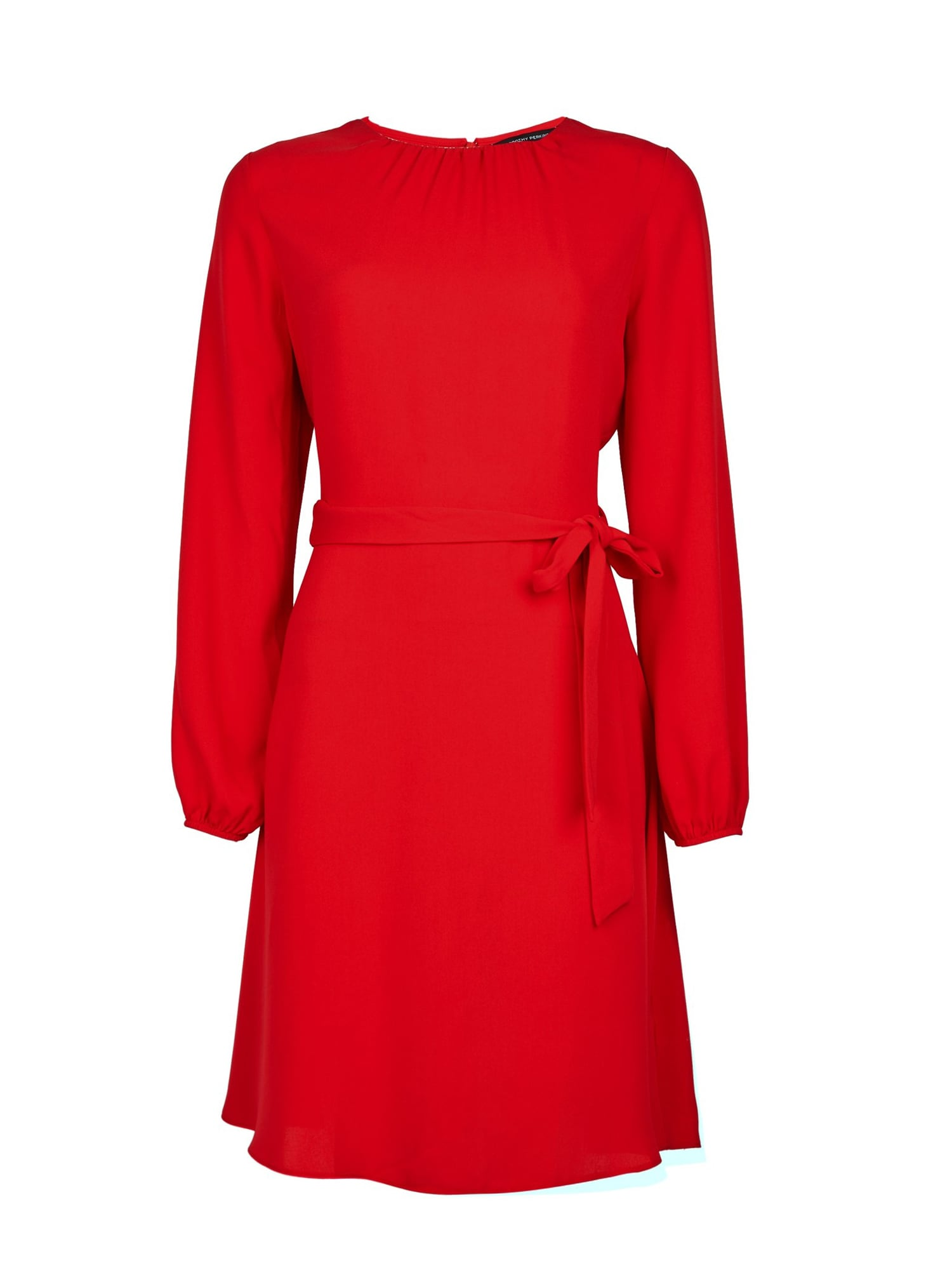 Dorothy Perkins Rochie 'RED PLEAT NECK FIT & FLARE'  roșu