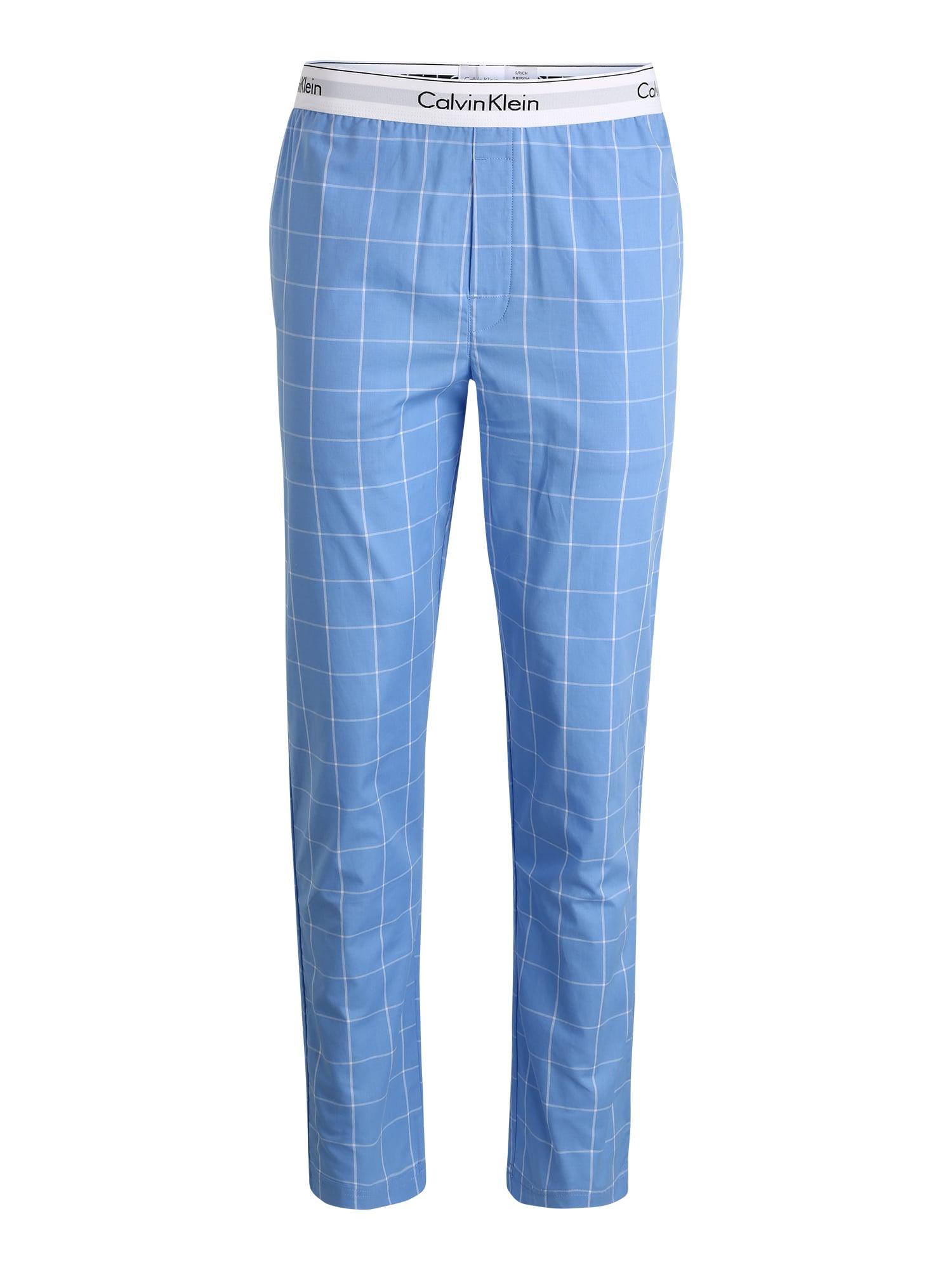 Calvin Klein Underwear Pižaminės kelnės 'SLEEP PANT' balta / mėlyna