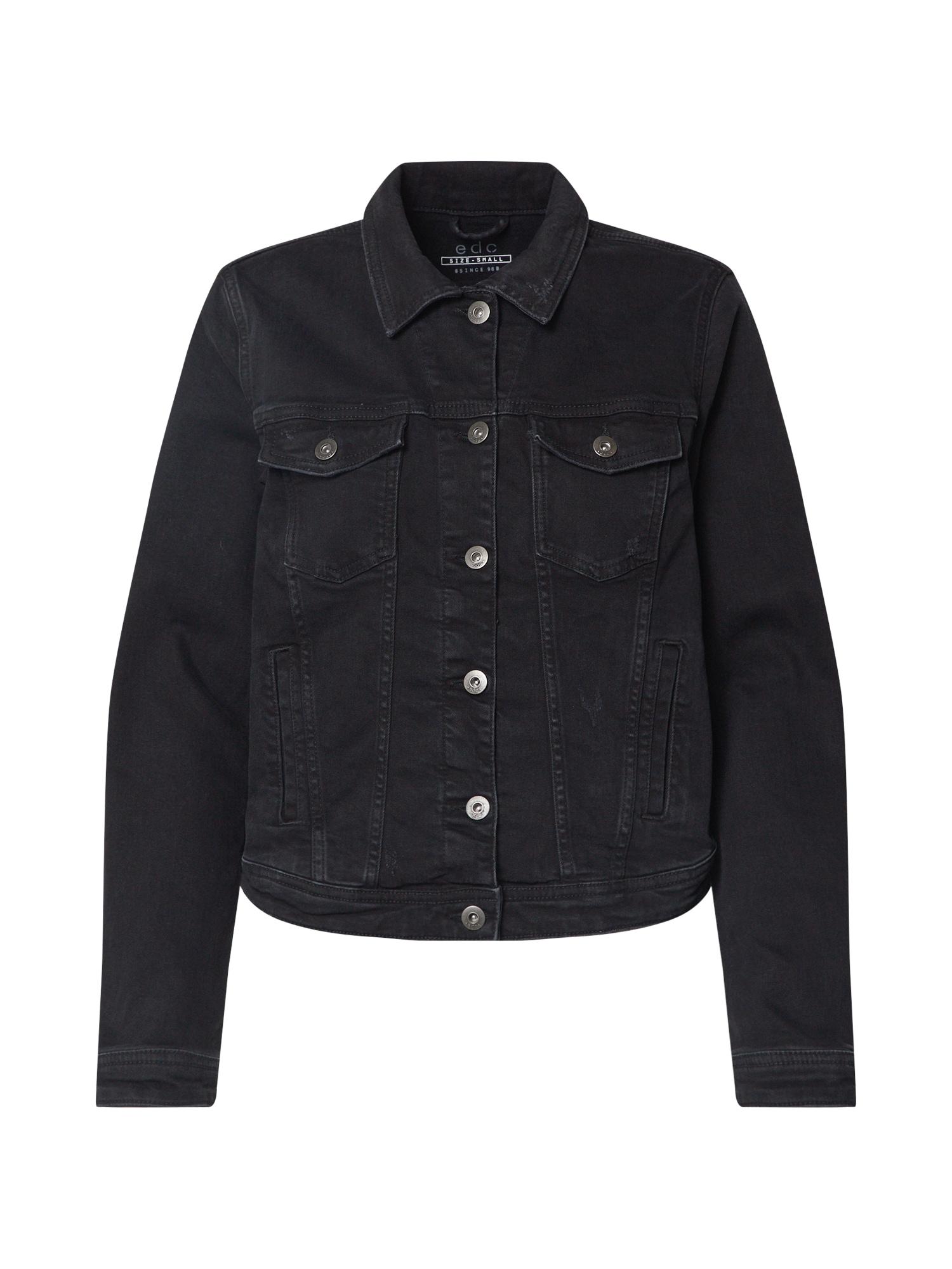 EDC BY ESPRIT Demisezoninė striukė juoda / juodo džinso spalva
