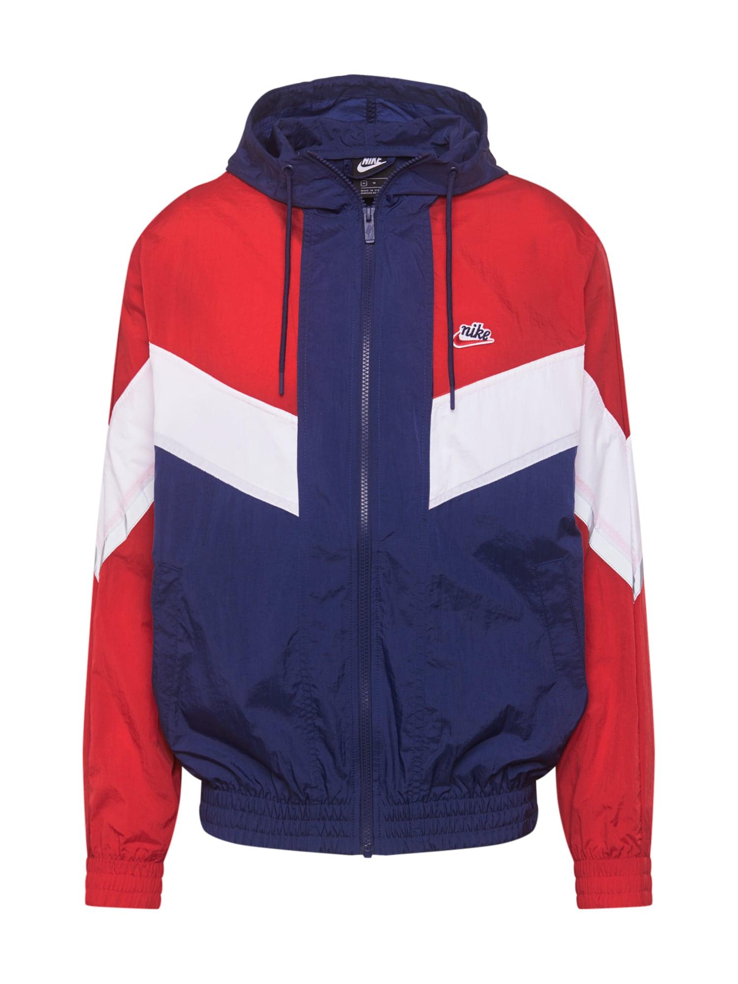 Nike Sportswear Demisezoninė striukė balta / raudona / tamsiai mėlyna jūros spalva