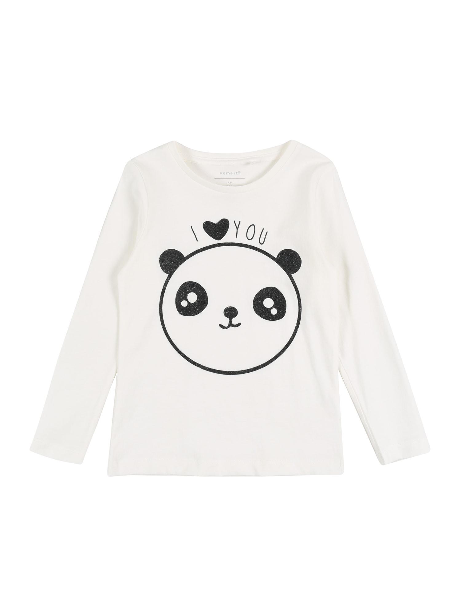 NAME IT Marškinėliai 'NMFTOPINDISSA' balta / juoda