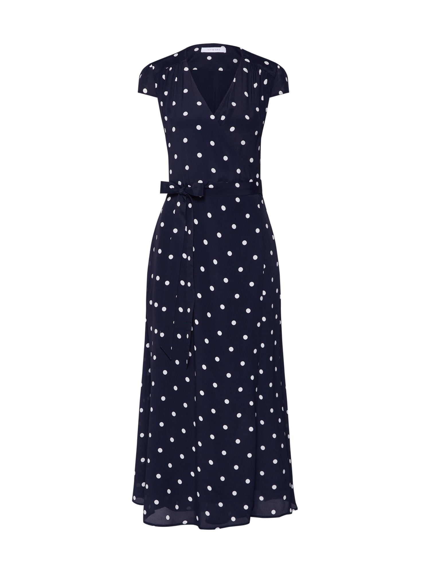 Šaty Polka Dot Wrap Dress Midi noční modrá bílá IVY & OAK
