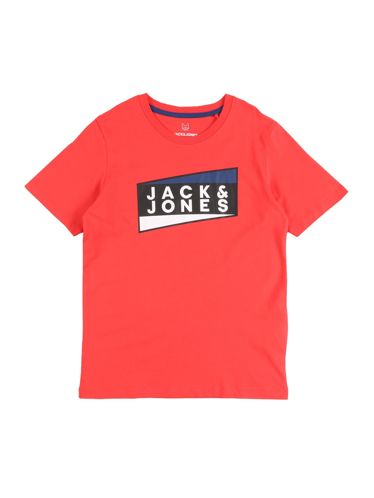 Jack & Jones Junior Marškinėliai 'JCOSHAUN TEE SS CREW NECK JR' raudona