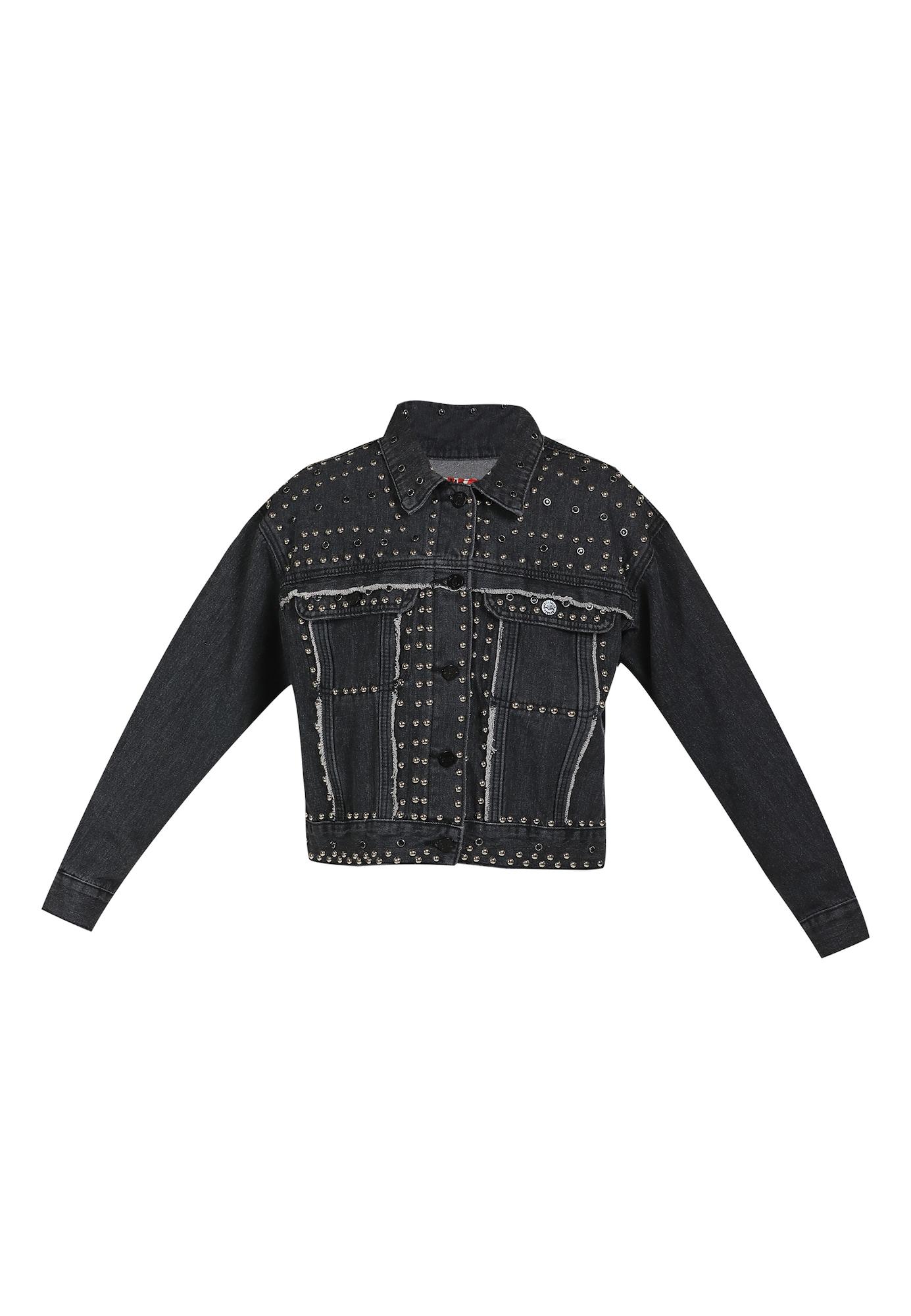 MYMO Demisezoninė striukė juodo džinso spalva