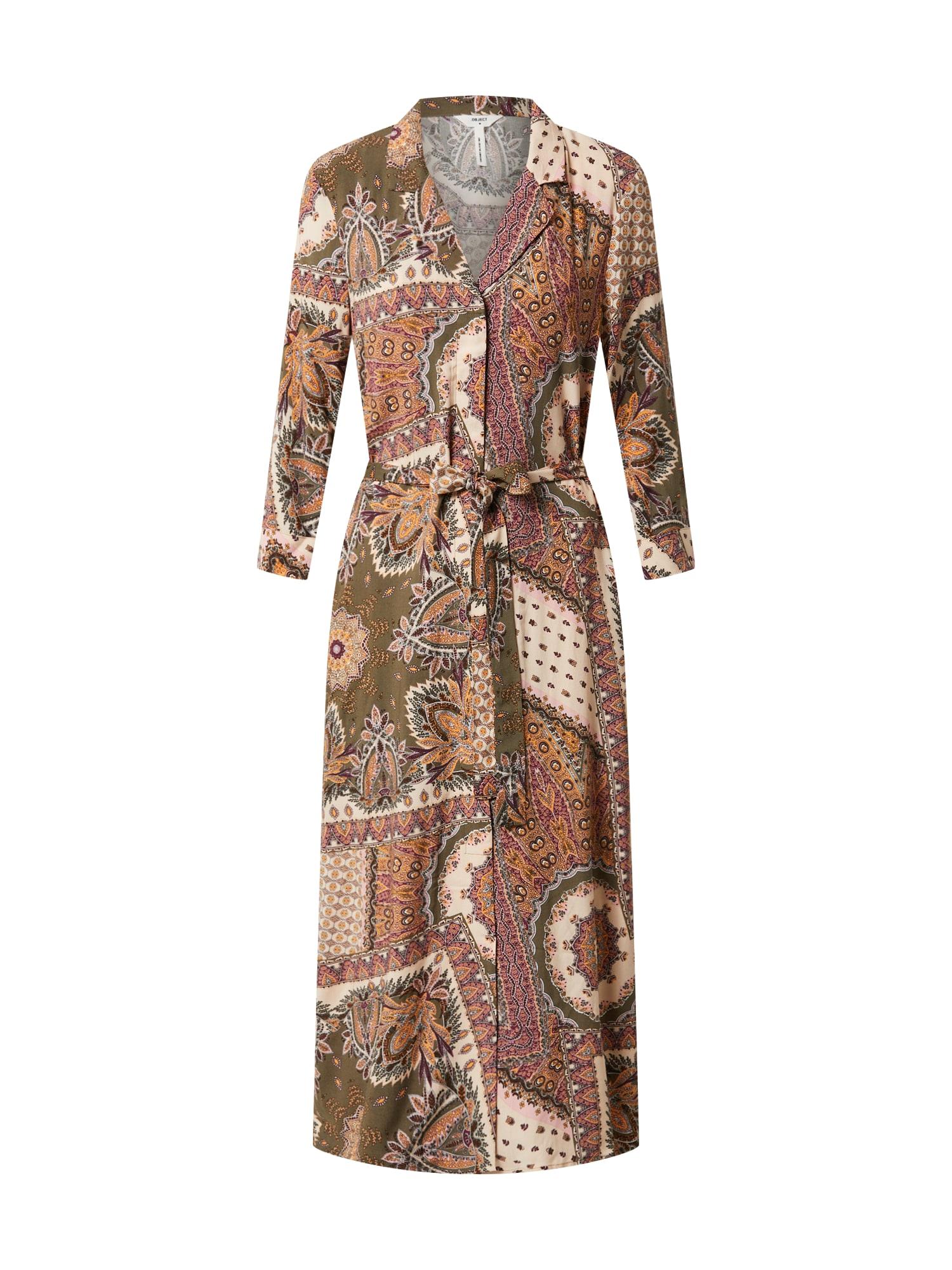 OBJECT Košeľové šaty 'OBJSUN'  olivová / svetlohnedá