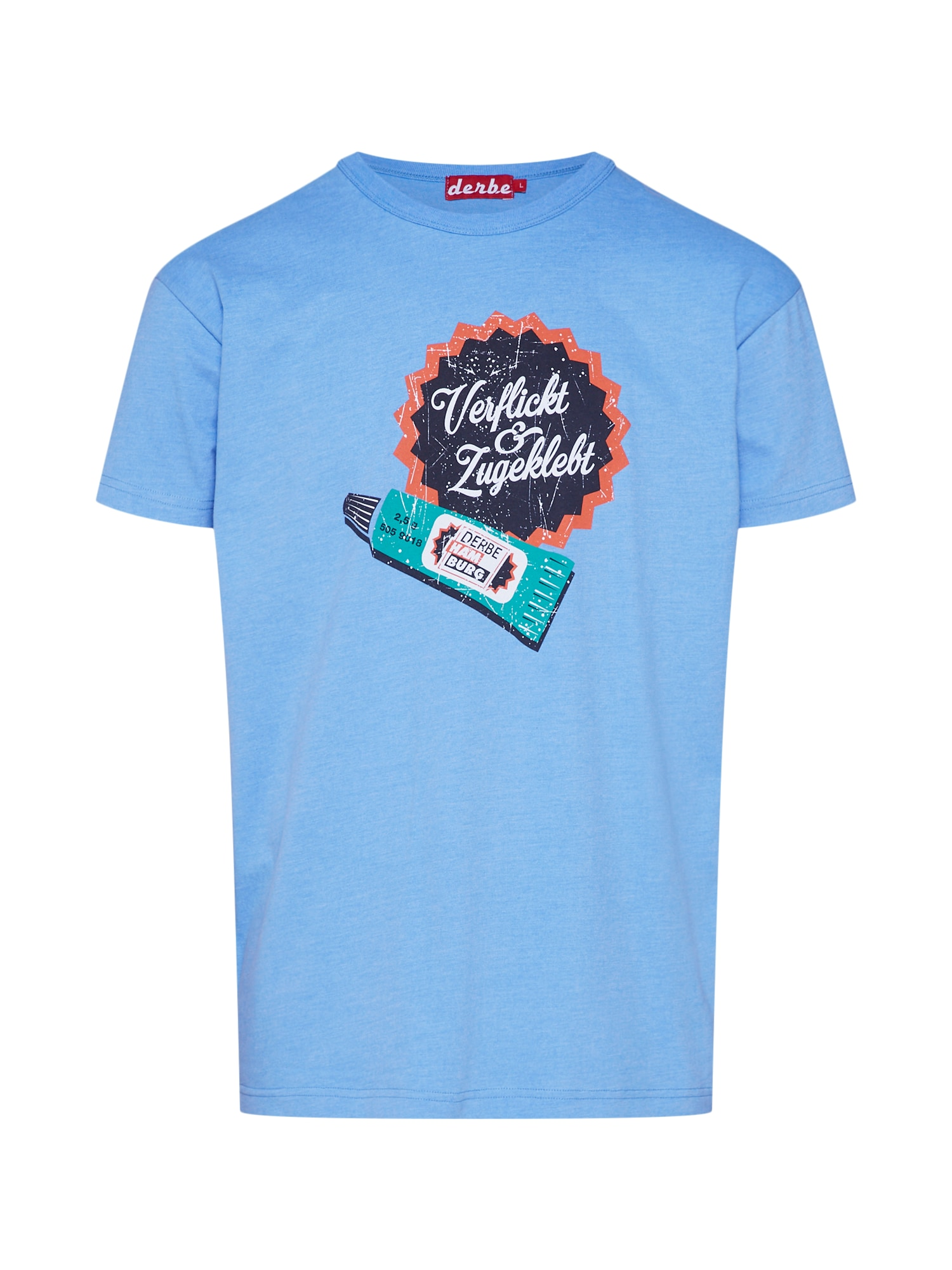 Tričko Verflickt nebeská modř mix barev Derbe