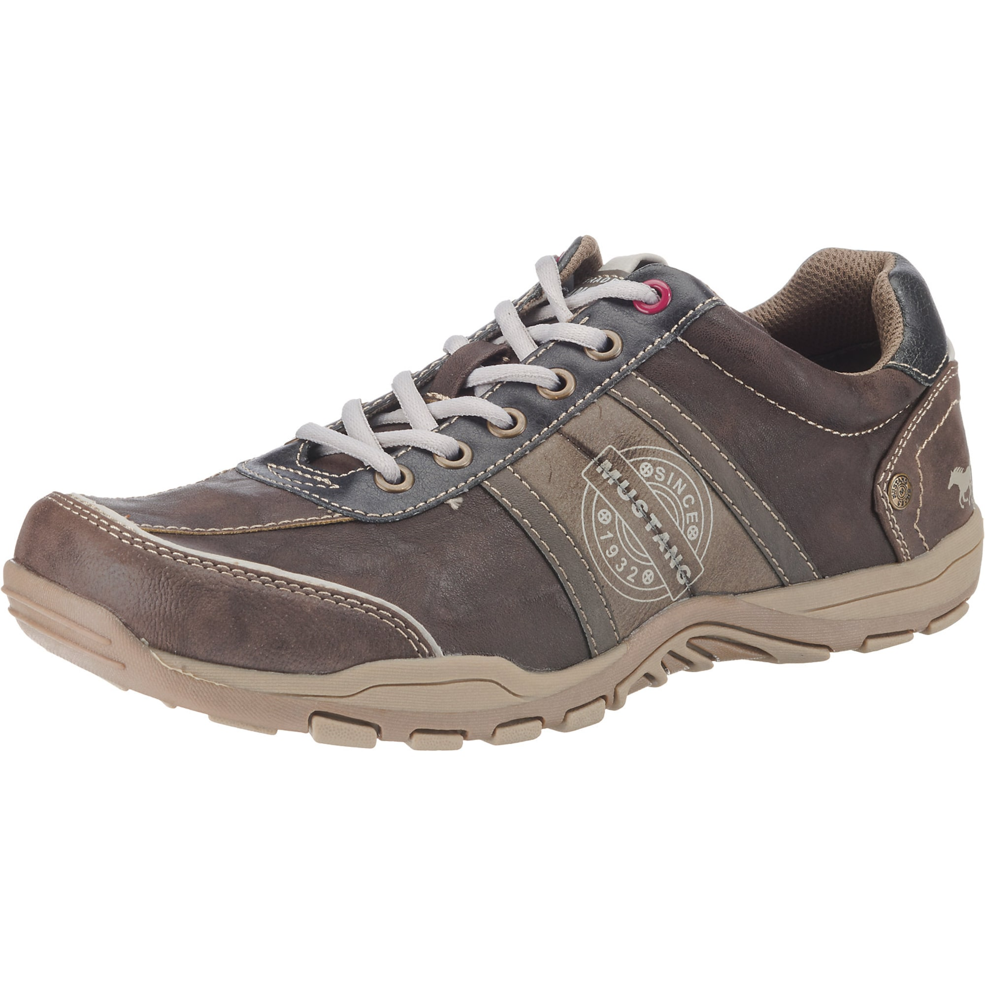 MUSTANG Sportinio stiliaus batai su raišteliais balta / ruda / šviesiai ruda