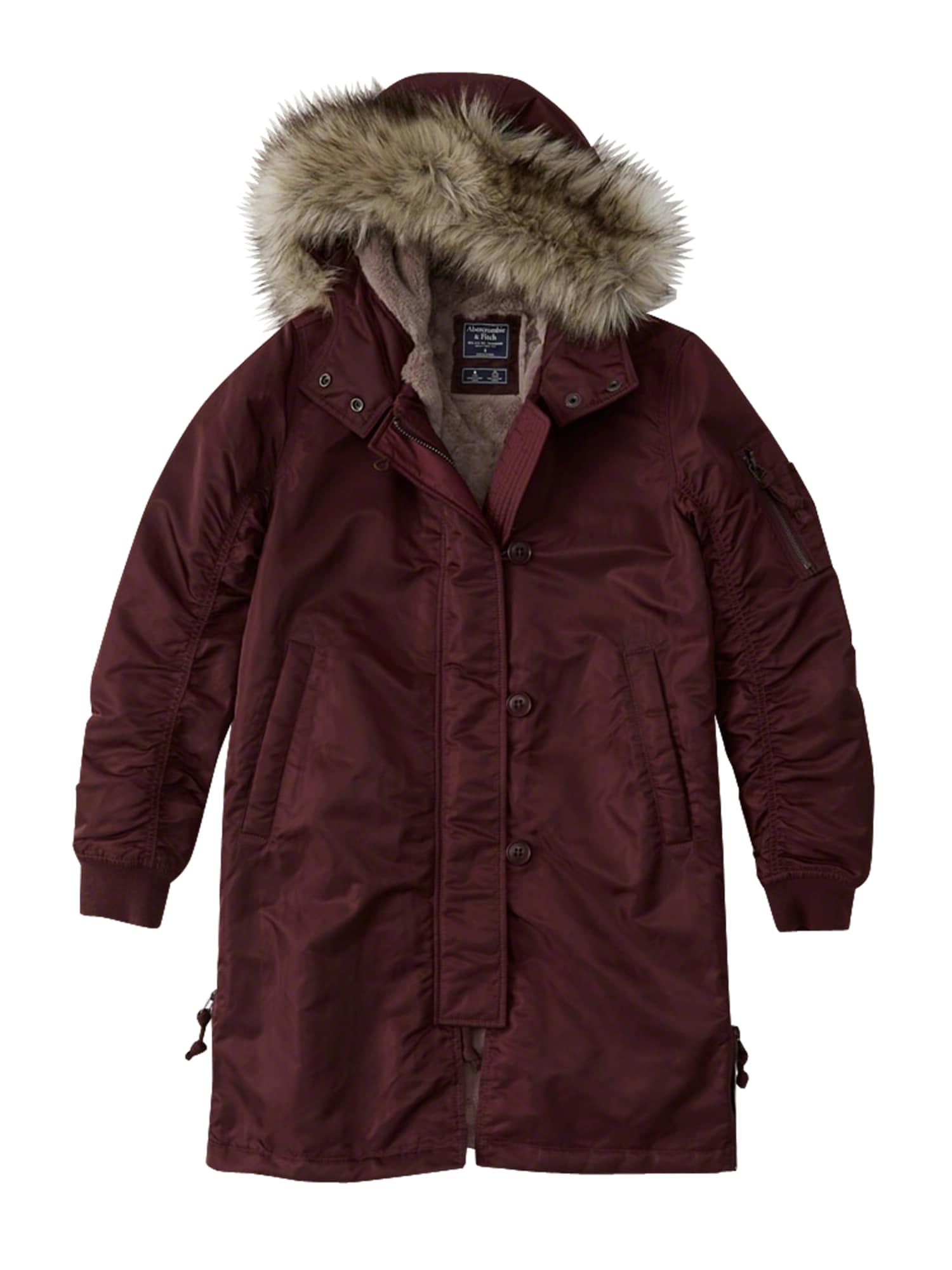 Abercrombie & Fitch Rudeninis-žieminis paltas 'BTS18-SHINY NYLON PARKA' burgundiško vyno spalva