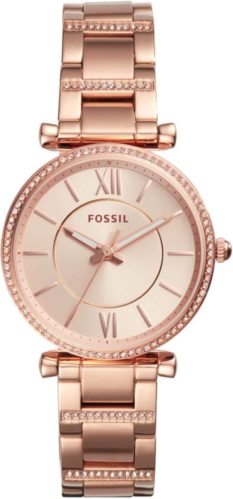 FOSSIL Analoginis (įprasto dizaino) laikrodis 'CARLIE, ES4301' rožinio aukso spalva / balta